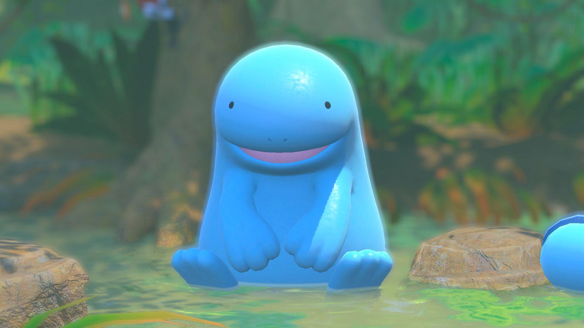 A Pokemon in Pokemon Snap sits.