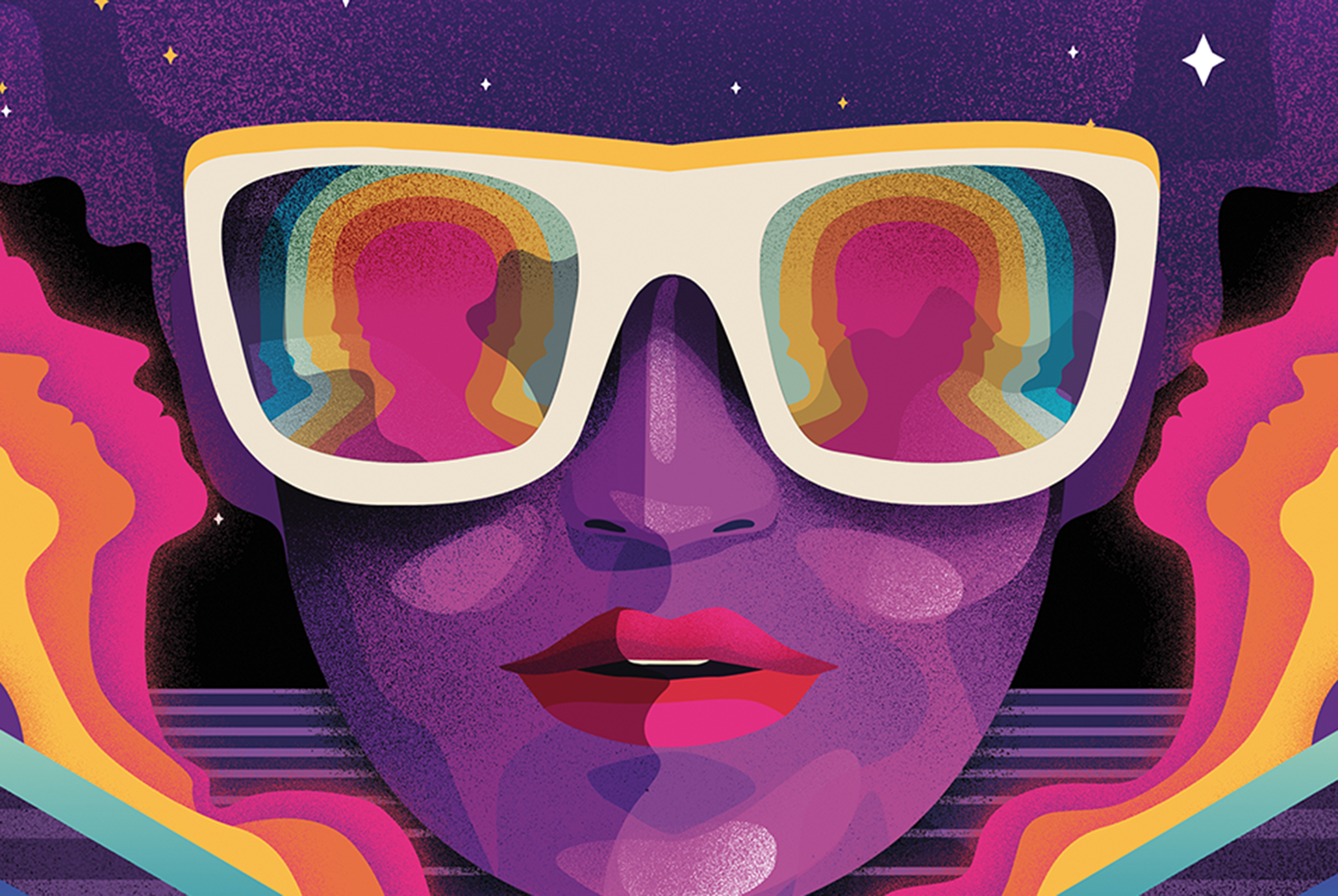Key art for the cover of Dream Crush, a new dating game from Mondo Games, shows a 1980s inspired image of a woman wearing sunglasses.