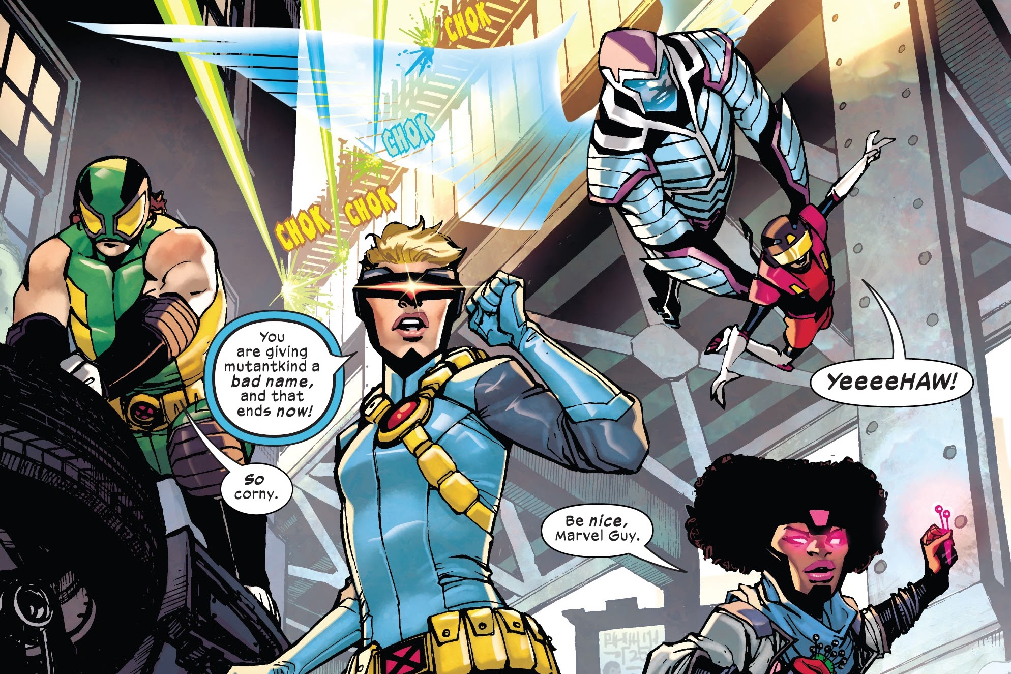 Marvel Guy, Cyclops-Lass, Cherub, Daycrawler, and Gimmick in The Children of the Atom #1, Marvel Comics (2021).