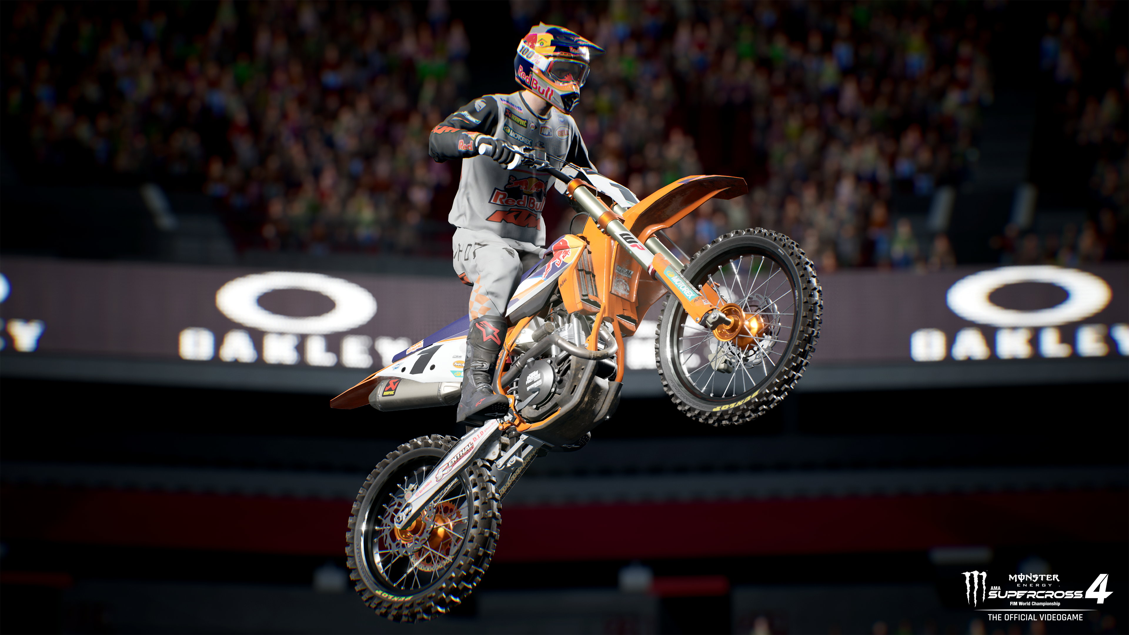 a rider takes a huge jump with the arena's mezzanine video board in the background in Monster Energy Supercross 4