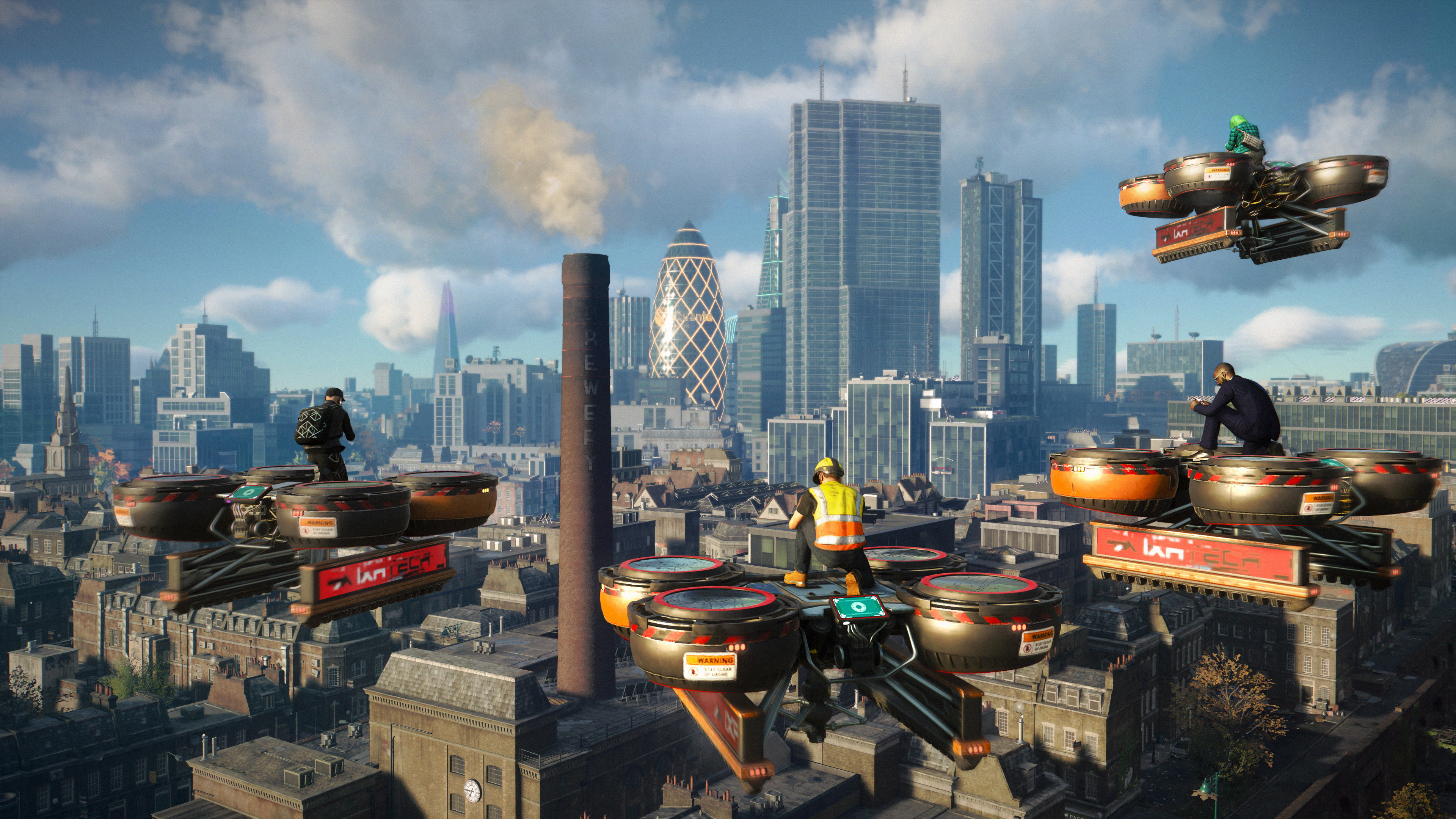players ride construction drones over London's skyline in Watch Dogs Legion Online