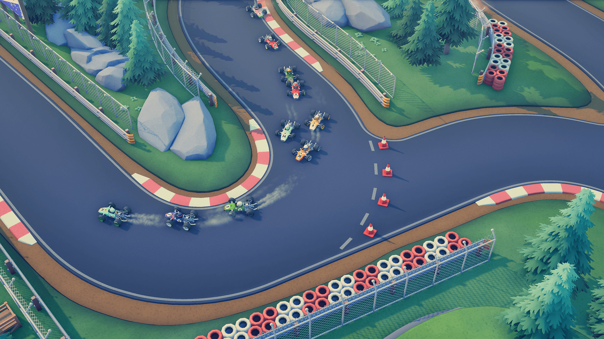 A knot of grand prix cars, belching exhaust, negotiate a hairpin corner