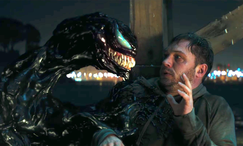Tom Hardy facing off with Venom.