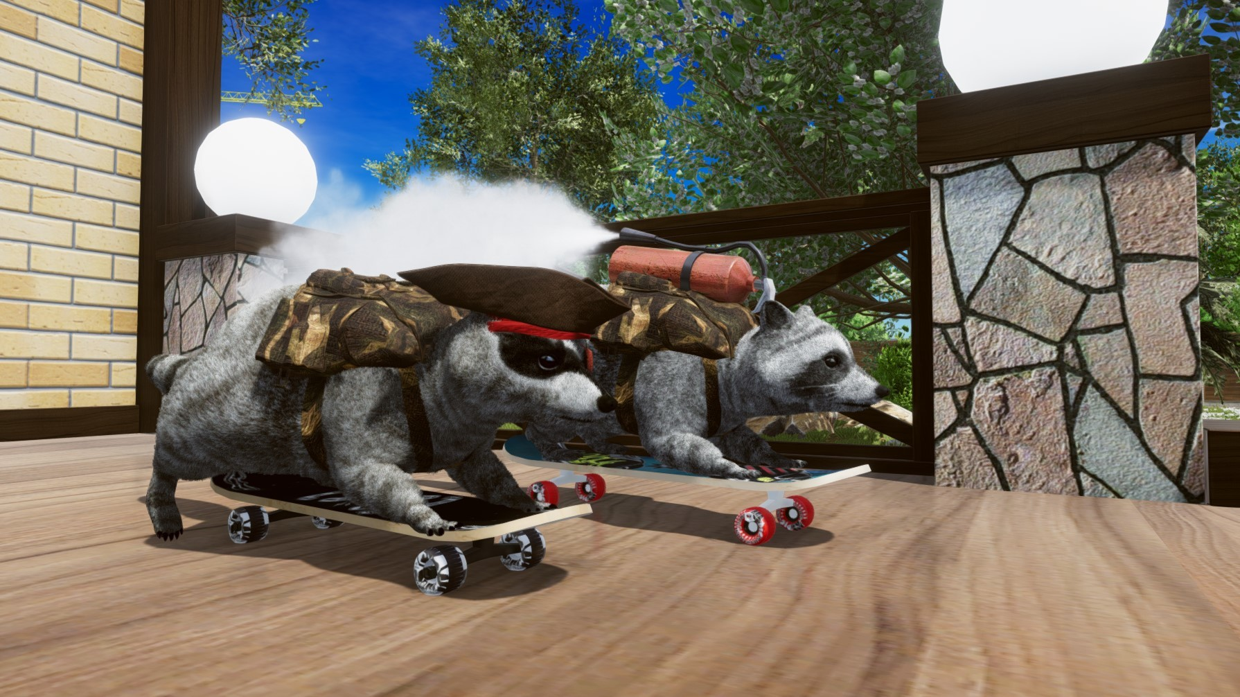 Two raccoons get ready to ride some skateboards, one with a fire extinguisher on its back.
