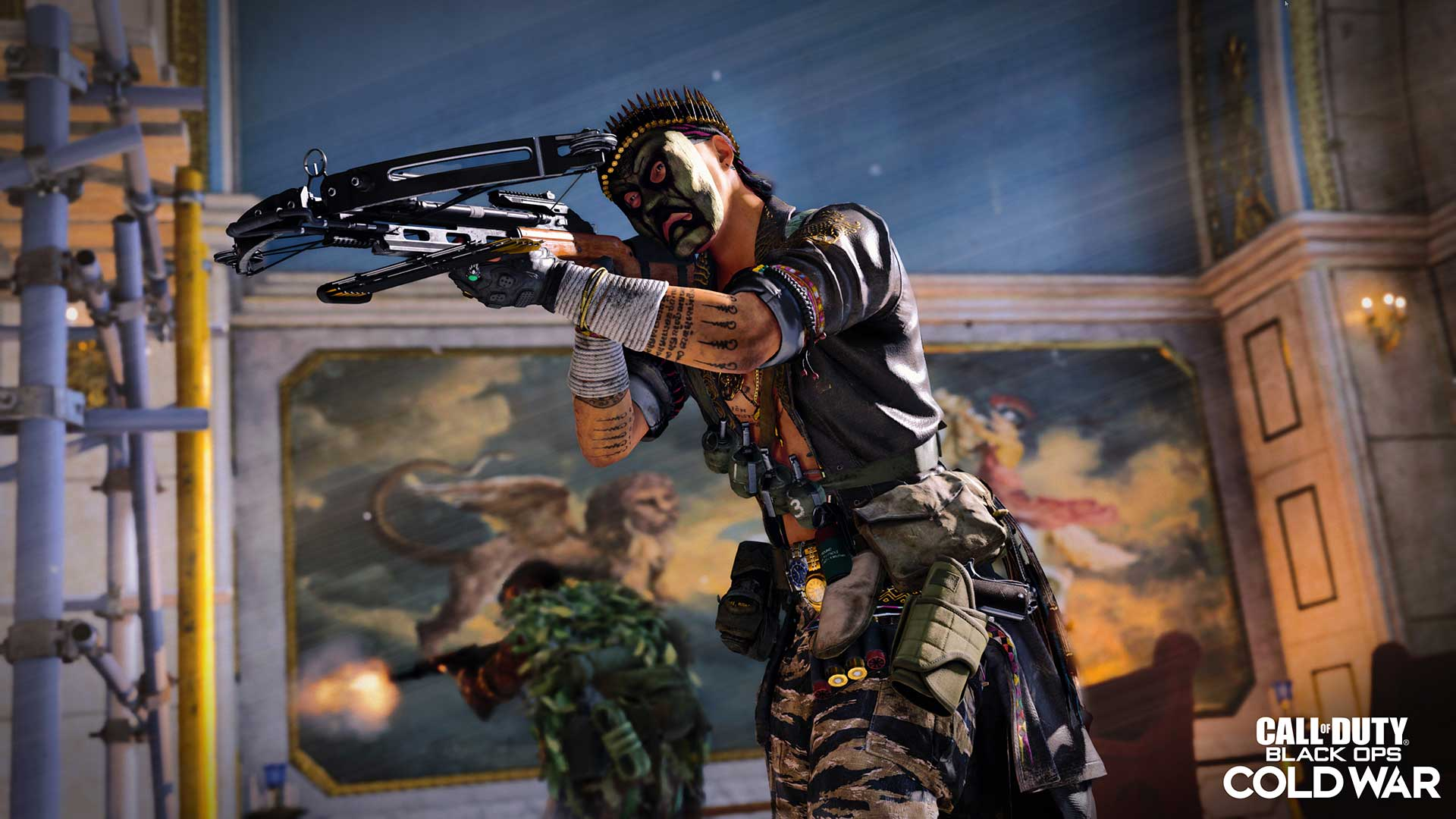 A Call of Duty: Black Ops Cold War player takes on enemies with the R1 crossbow