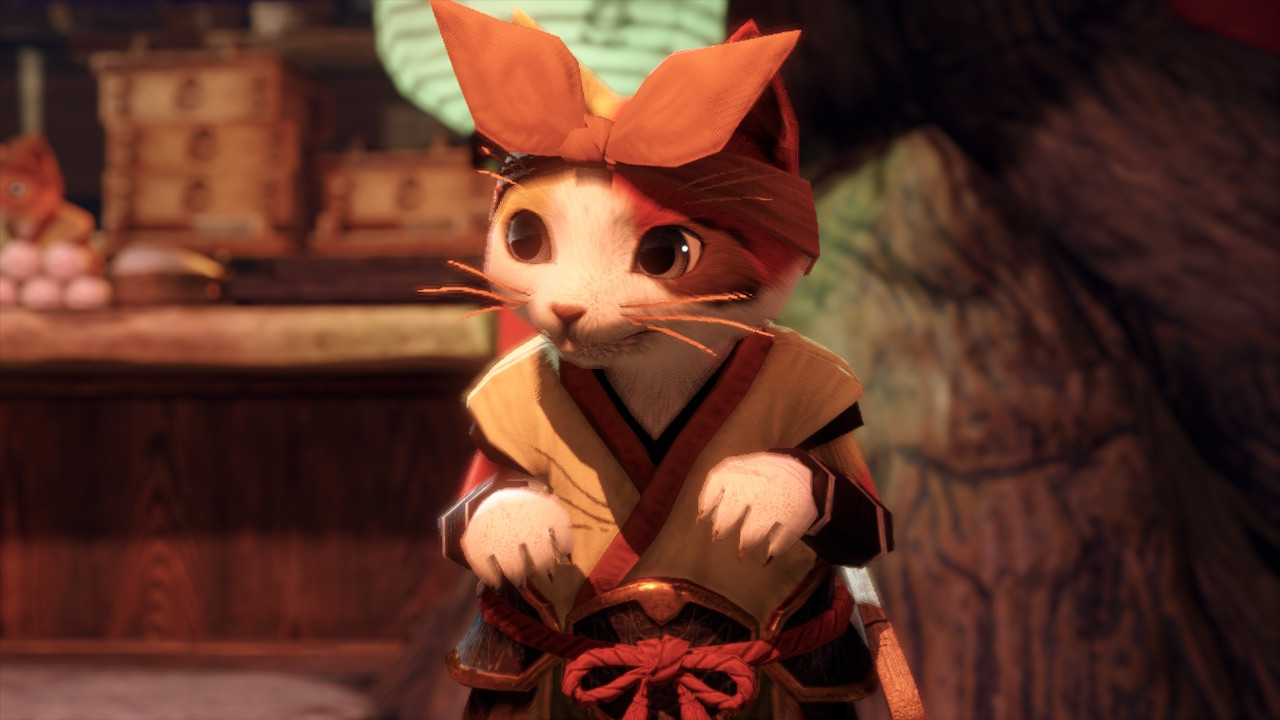 A pensive Palico from Monster Hunter Rise