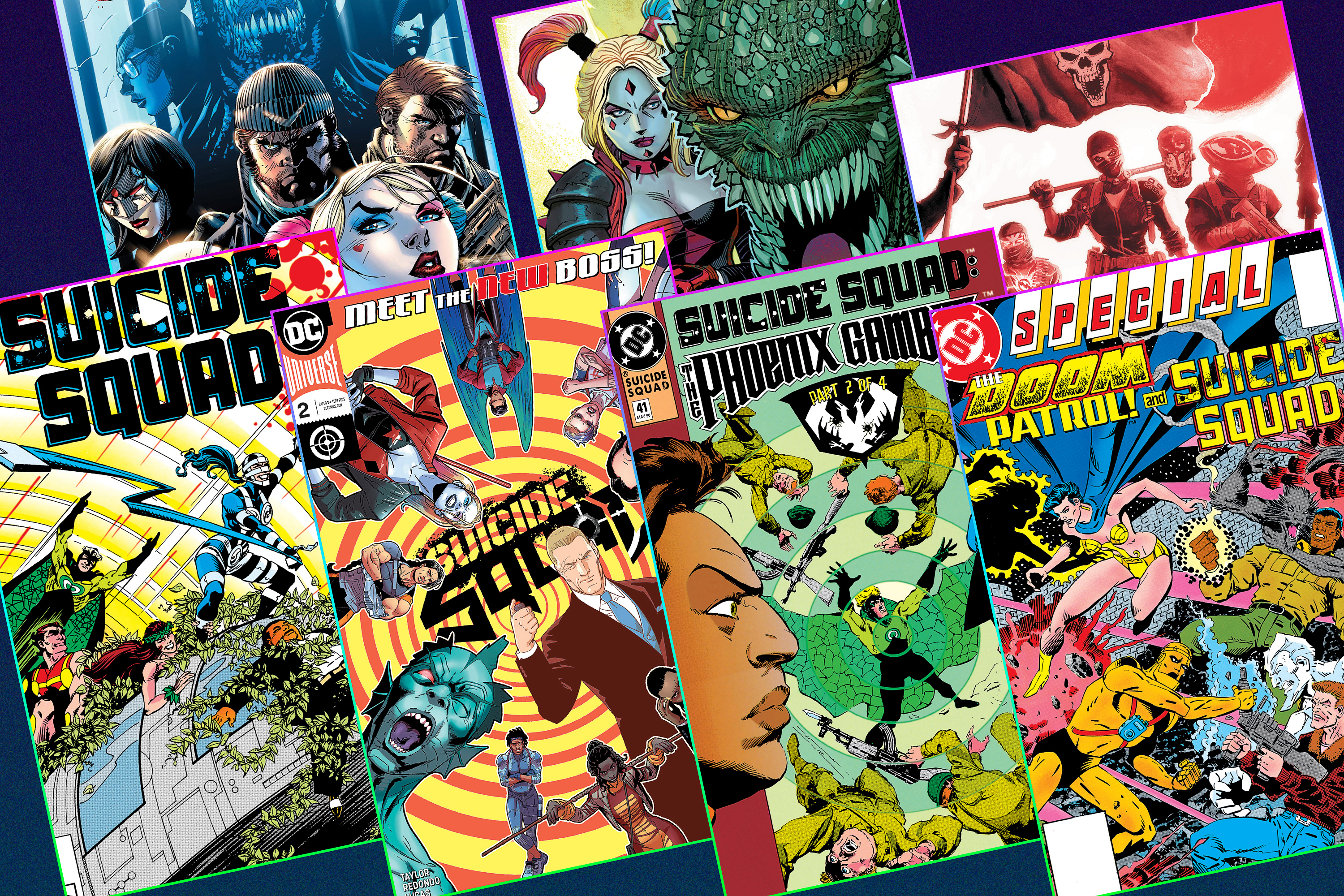 Graphic layout of seven different comic book covers featuring Suicide Squad
