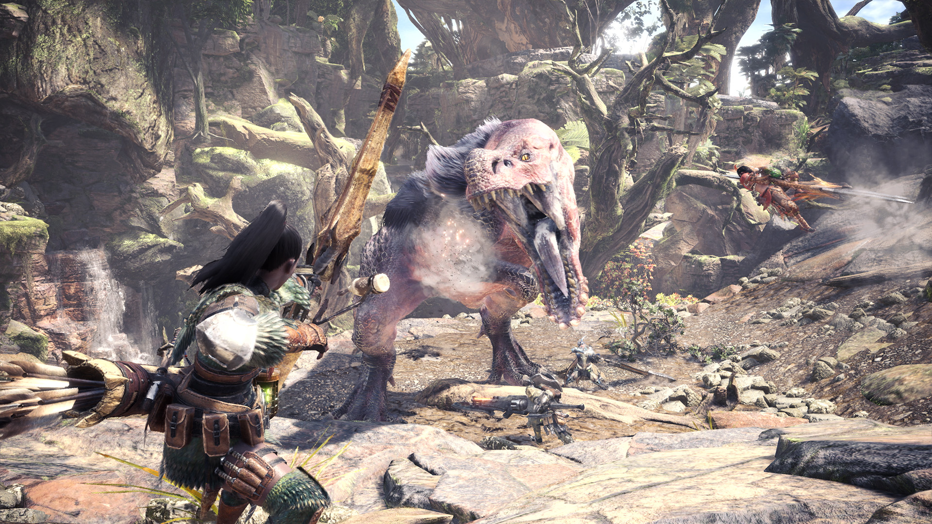 This screenshot from Monster Hunter: World shows a player character with a bow aiming at a massive monster called an Anjanath. Behind the creature is a massive canyon full of vines and ragged trees.
