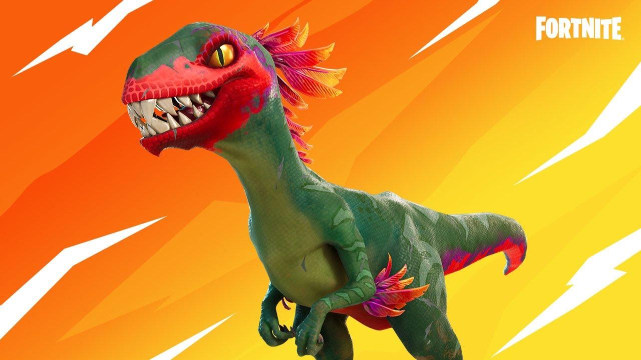 A dinosaur (raptor) in Fortnite