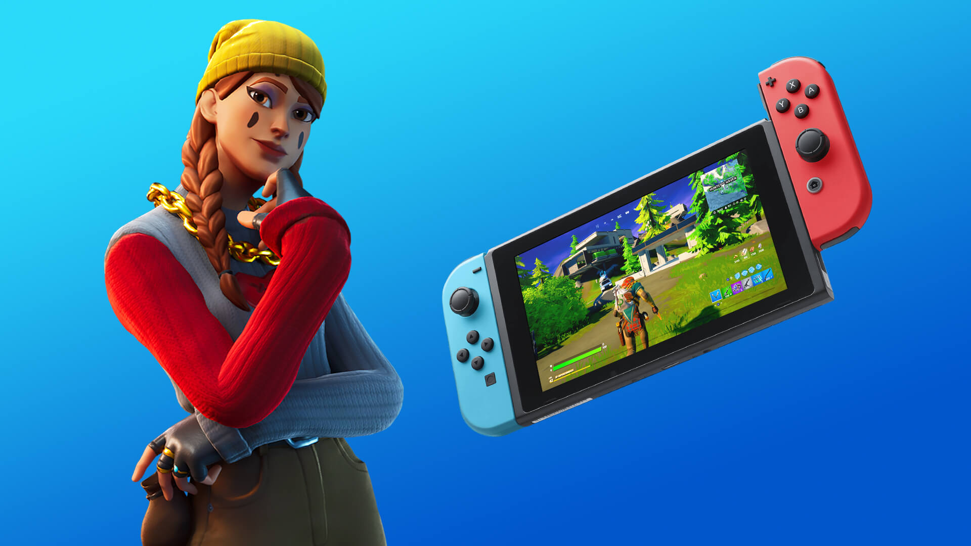 Alli and a Nintendo Switch, as they appear in Fortnite