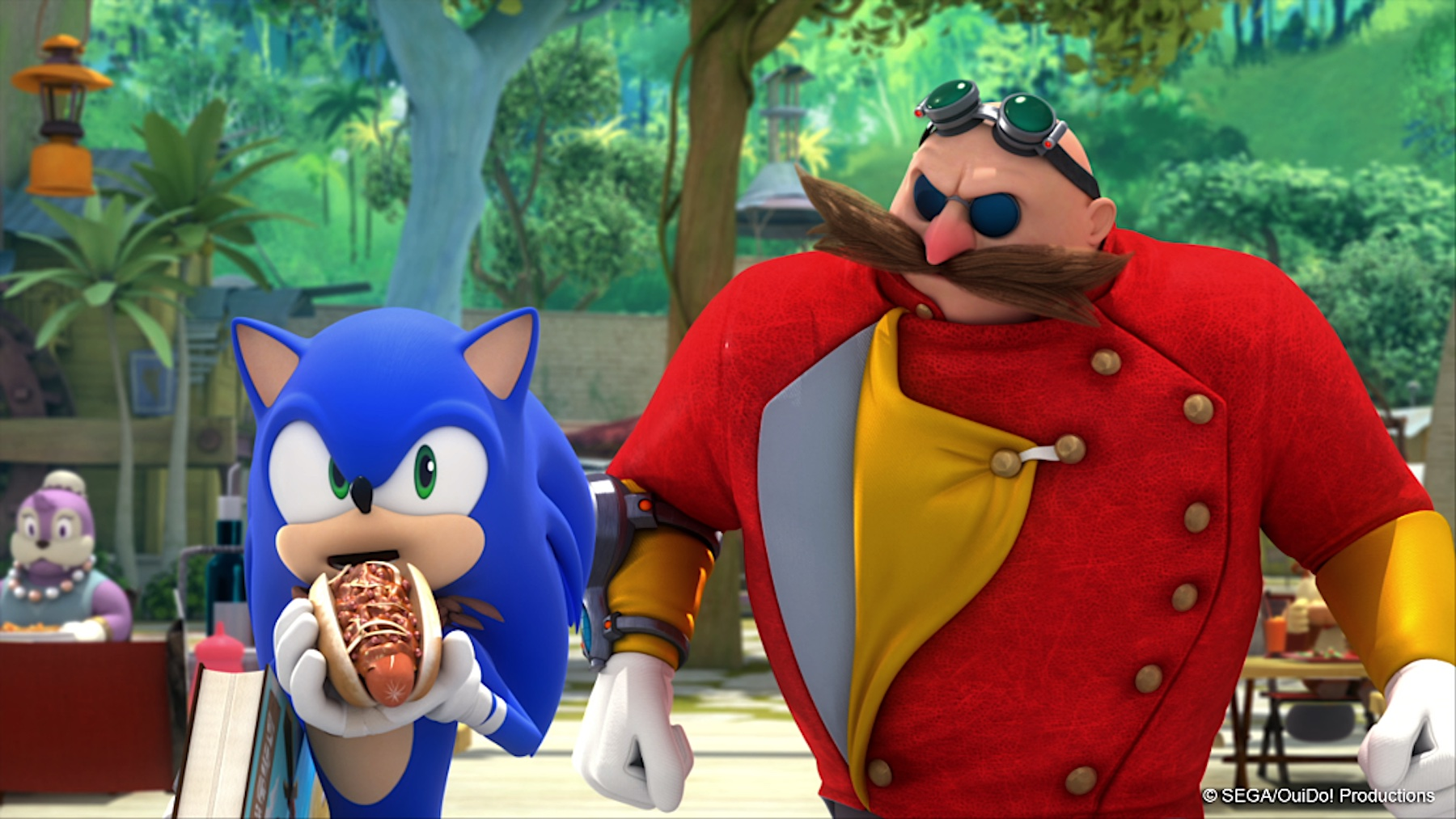 Sonic eats a chili dog next to Dr. Robotnik in a still from Sonic Boom