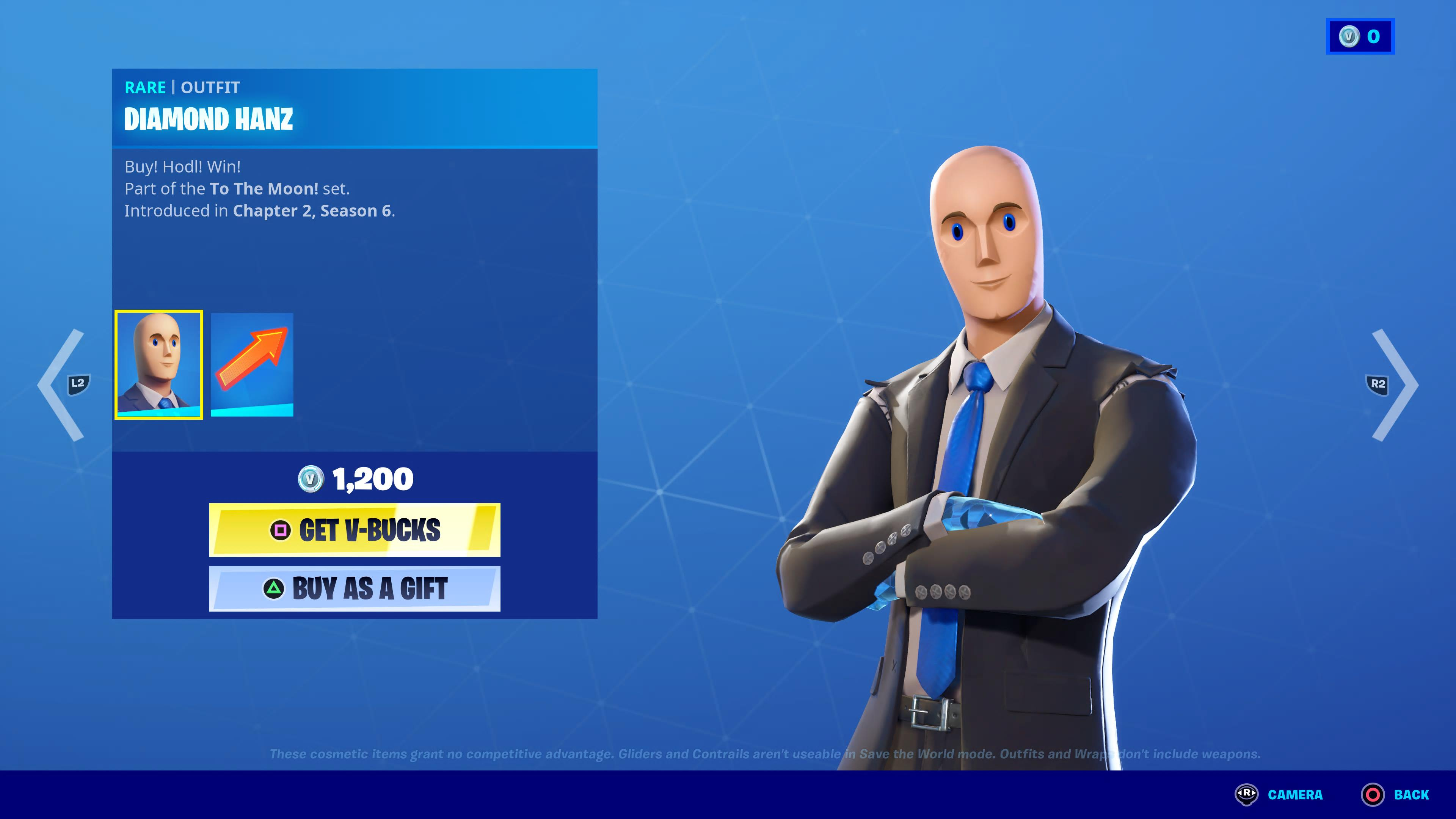 """Fortnite marketplace showing """"Diamond Hanz,"""" who is based on the STONKS! meme"""