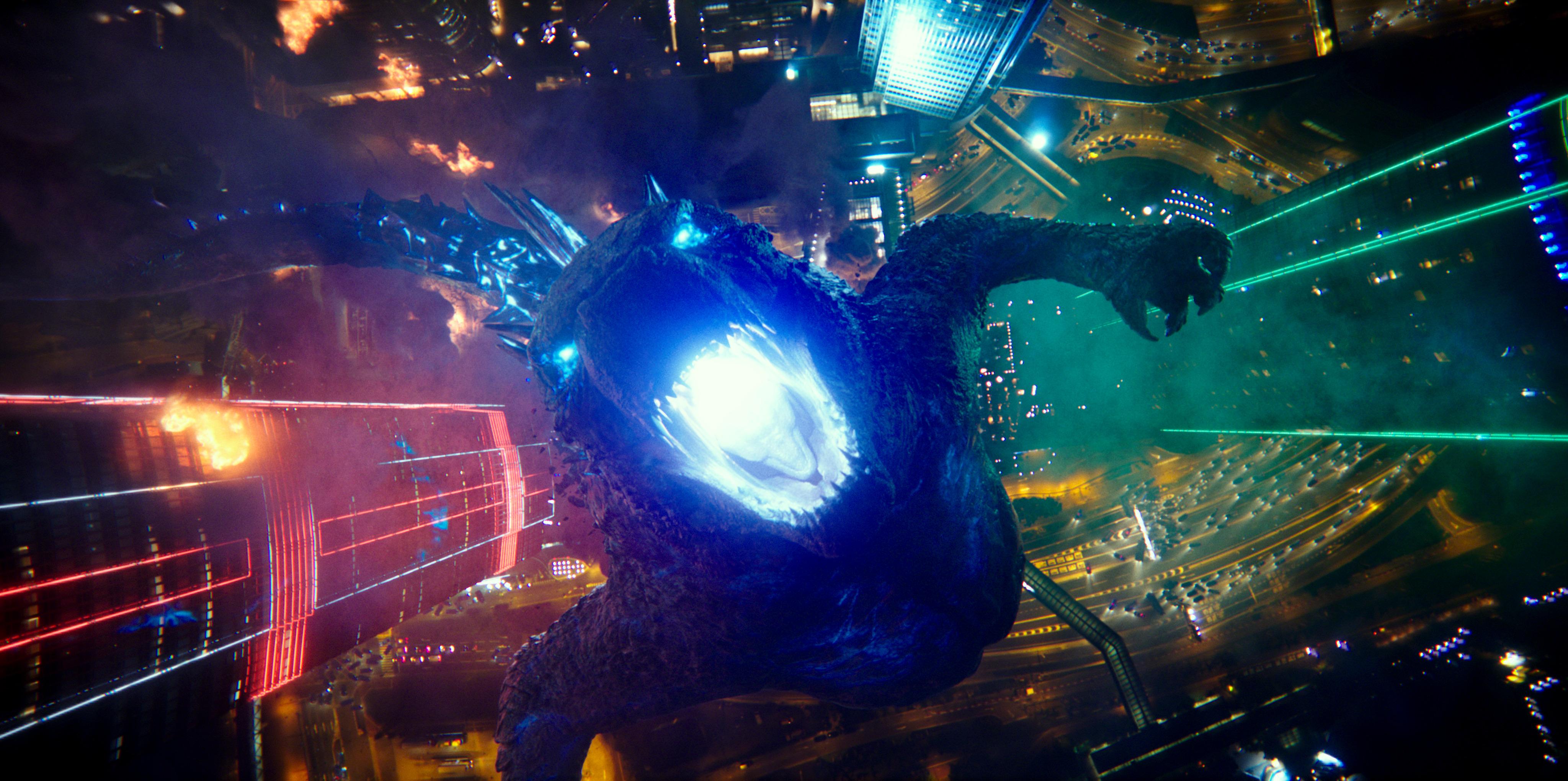 Godzilla roars with his atomic breath