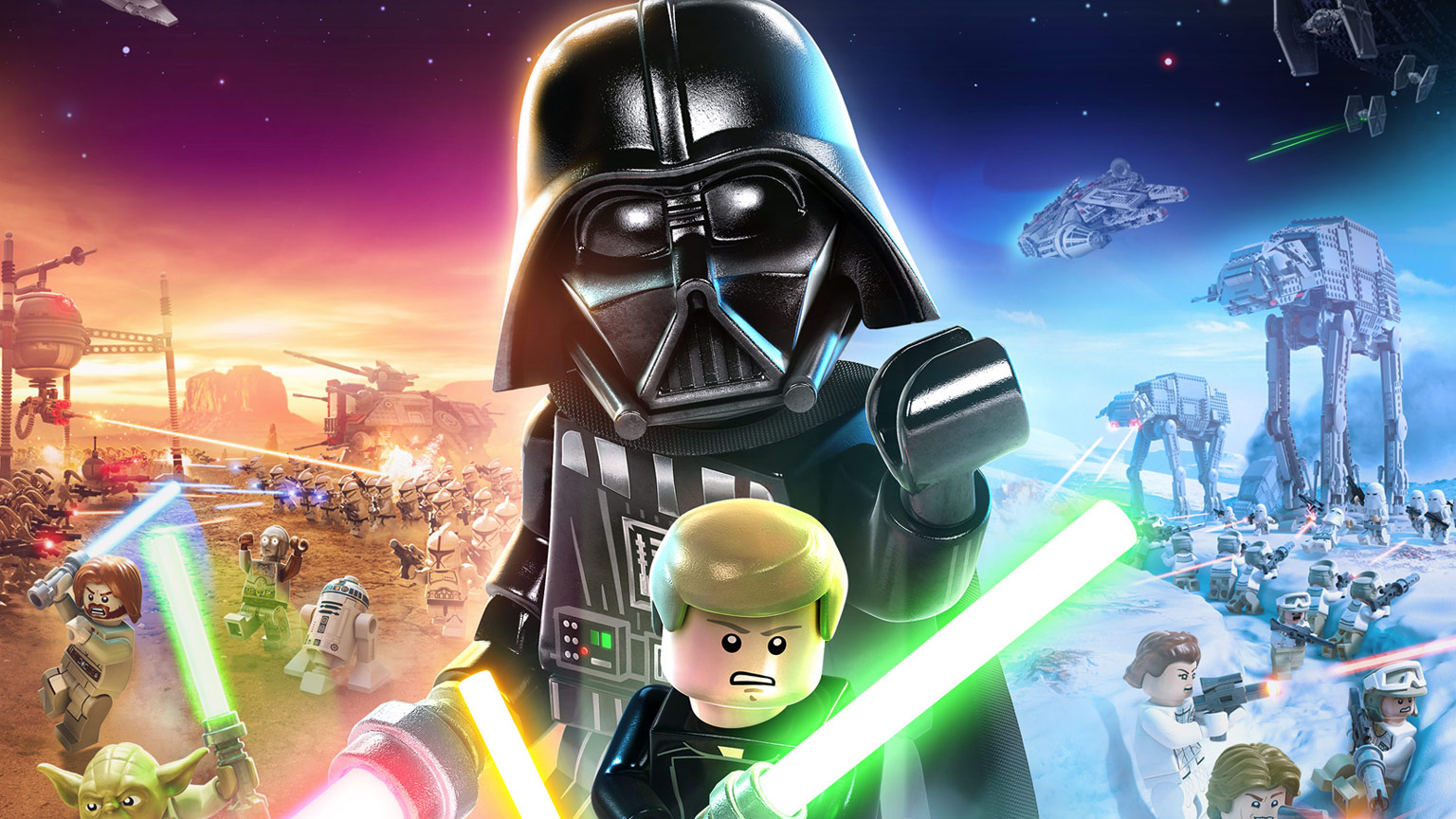 cover art showing the Lego-styled rendering of various Star Wars movie posters, with a large Lego Darth Vader and Luke Skywalker at center