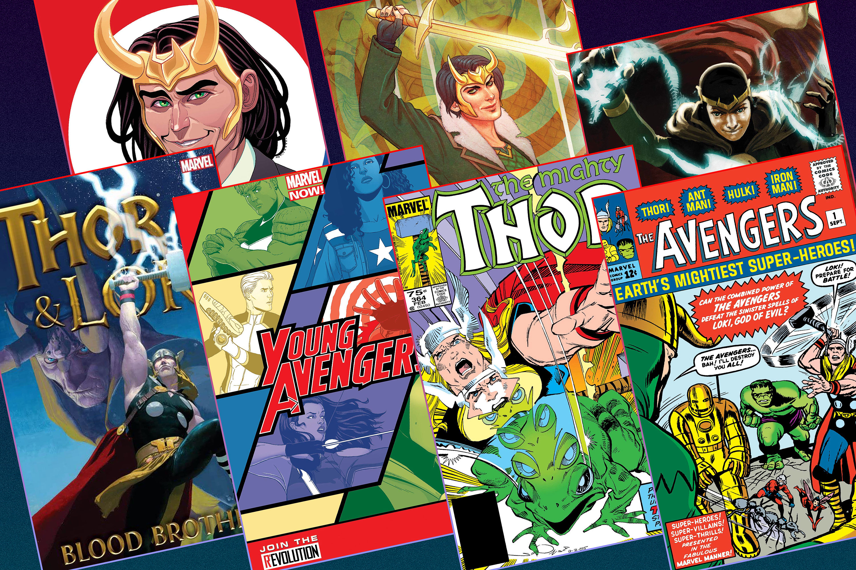 Graphic layout of seven different comic book covers featuring the character Loki