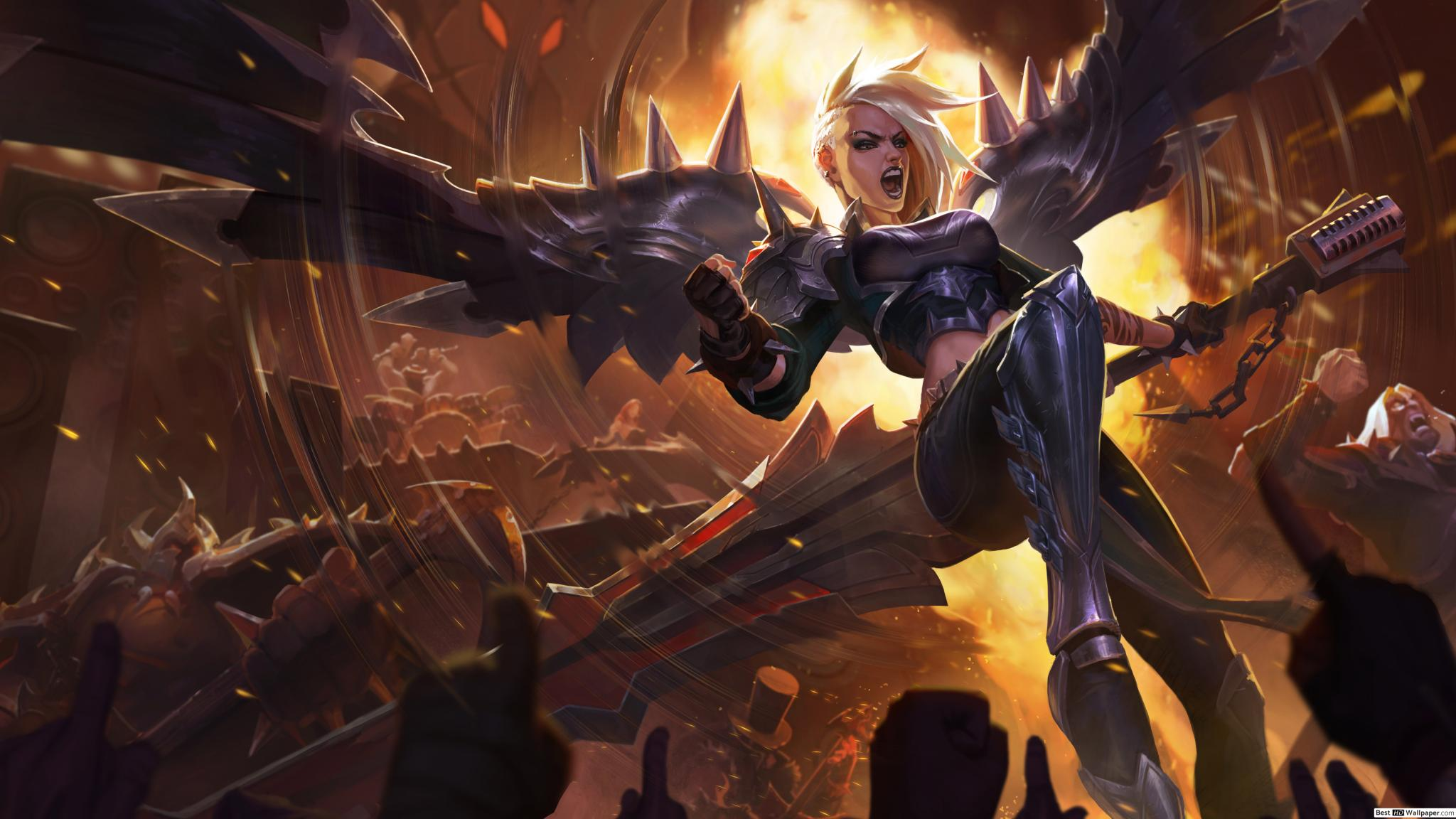 League of Legends - splash art for Pentakill Kayle, depicting a young woman with metal wings rocking out.