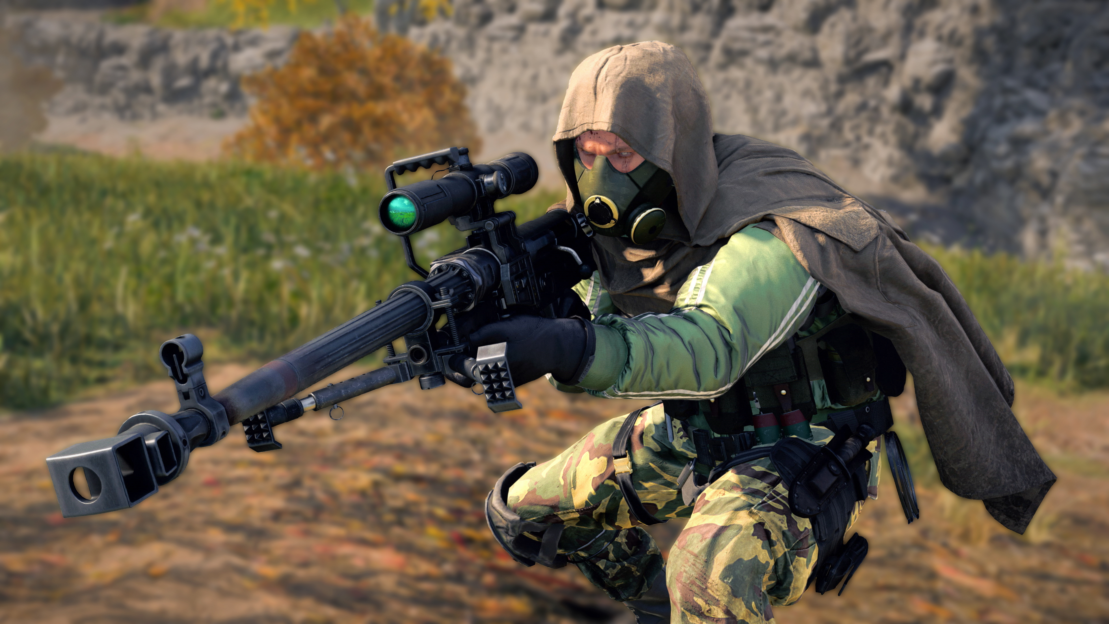 A Call of Duty: Black Ops Cold War player aims the ZRG 20mm sniper rifle