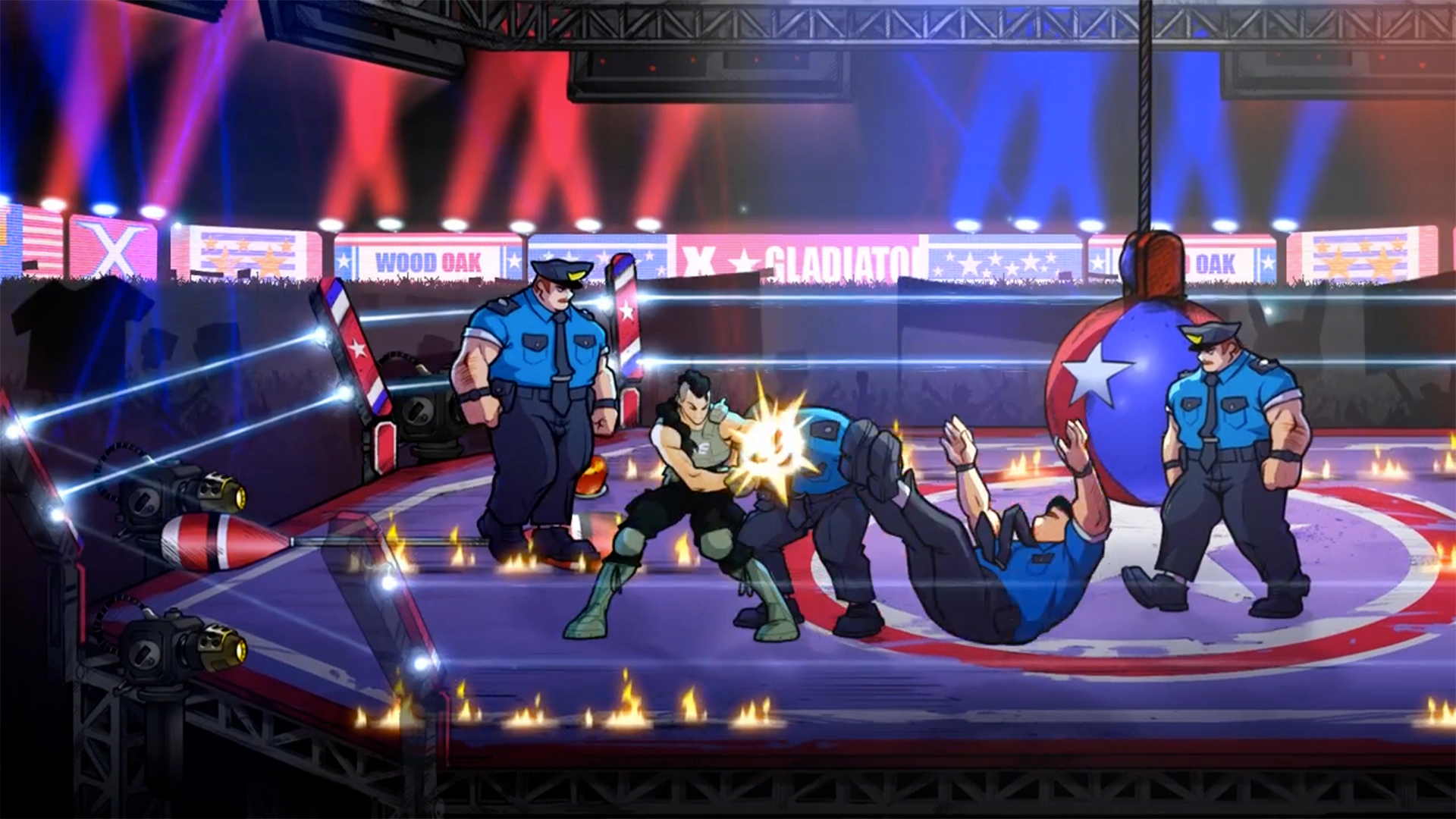 Estelle Aguirre fights cops in a wrestling ring in Streets of Rage 4