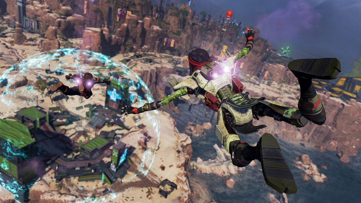 An Apex Legends player jumps onto the Kings Canyon map