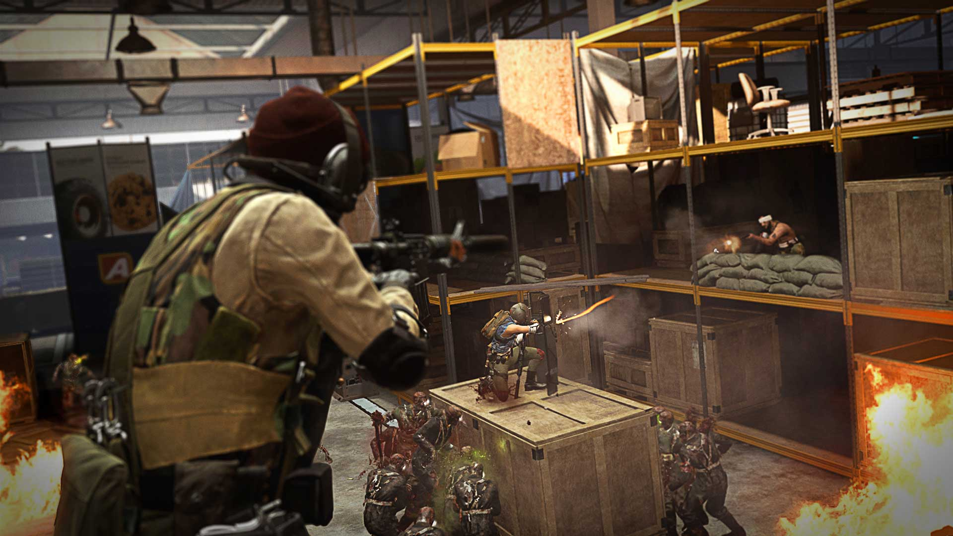 Players in Call of Duty: Warzone's Superstore fighting zombies