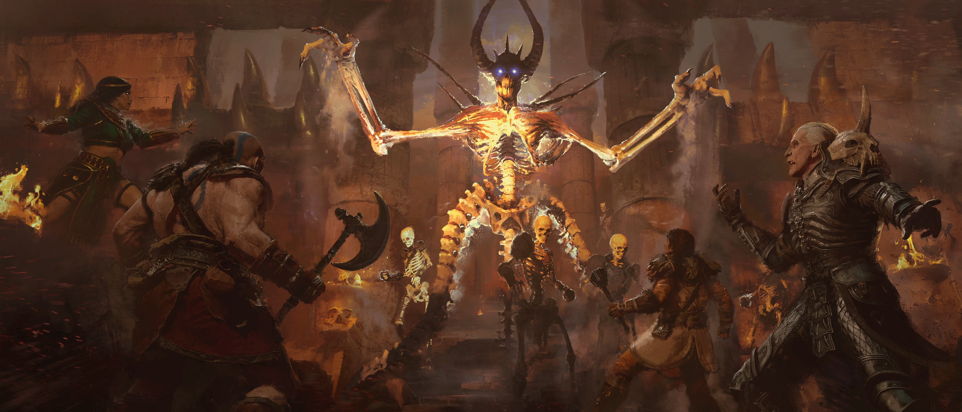 A flaming skeleton towers over adventurers in Diablo 2: Resurrected