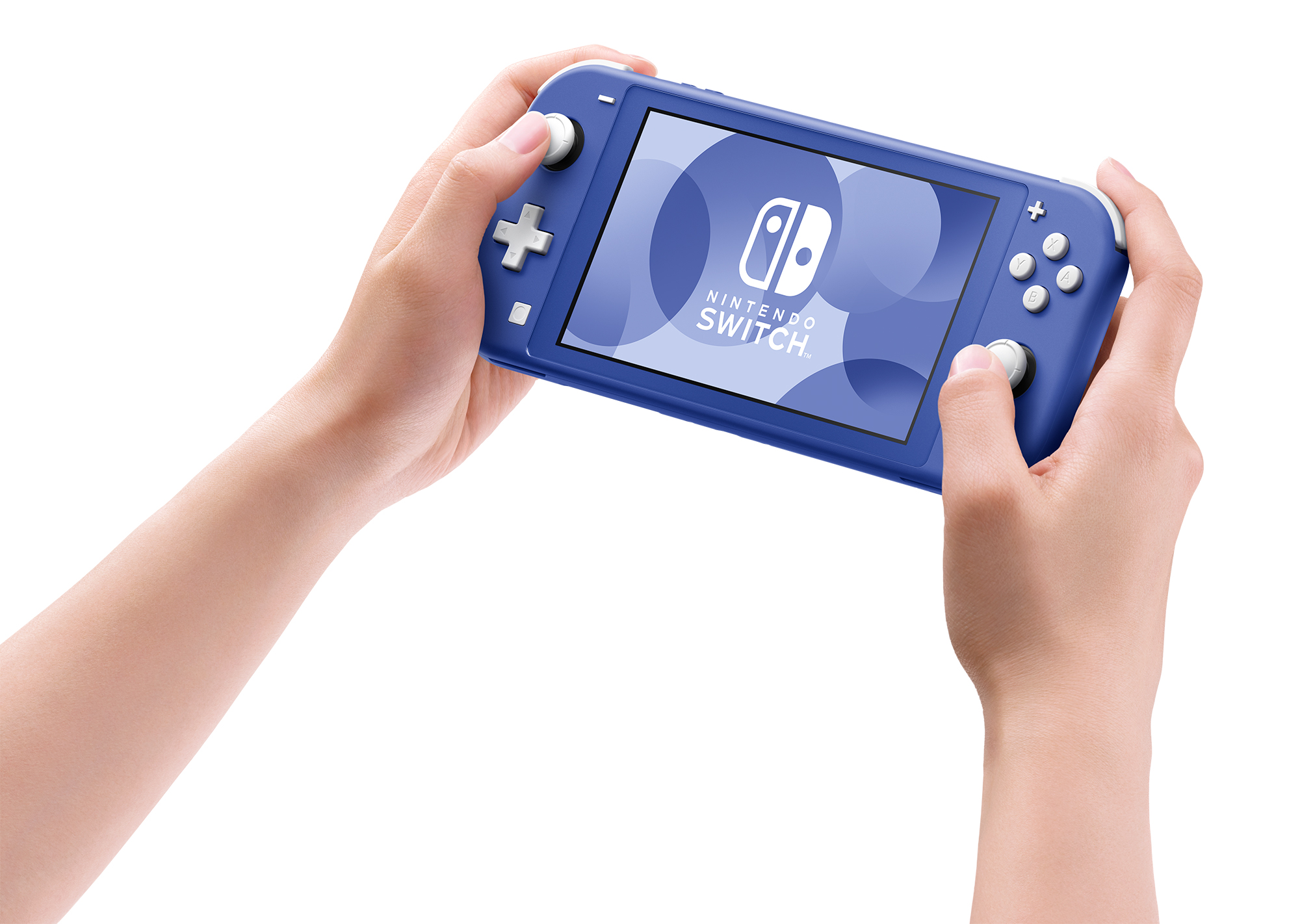Two hands holding a cool blue Nintendo Switch Lite system