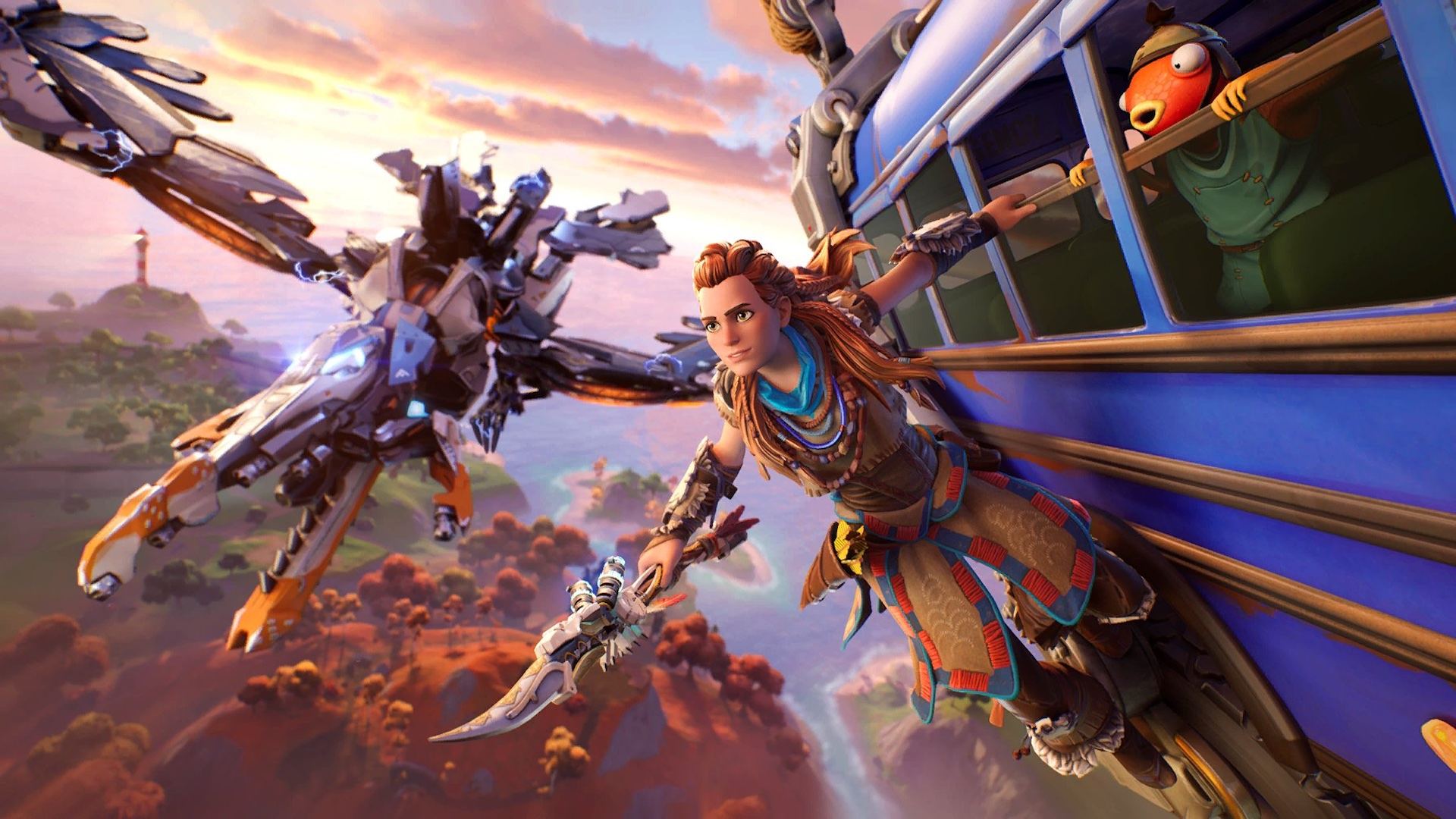 Aloy riding the Fortnite battle bus