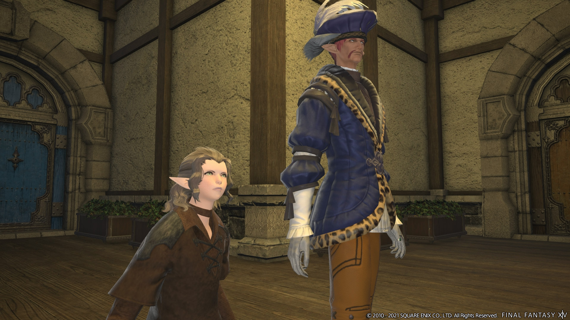 Count Charlemend and a young elezen woman stand in shock