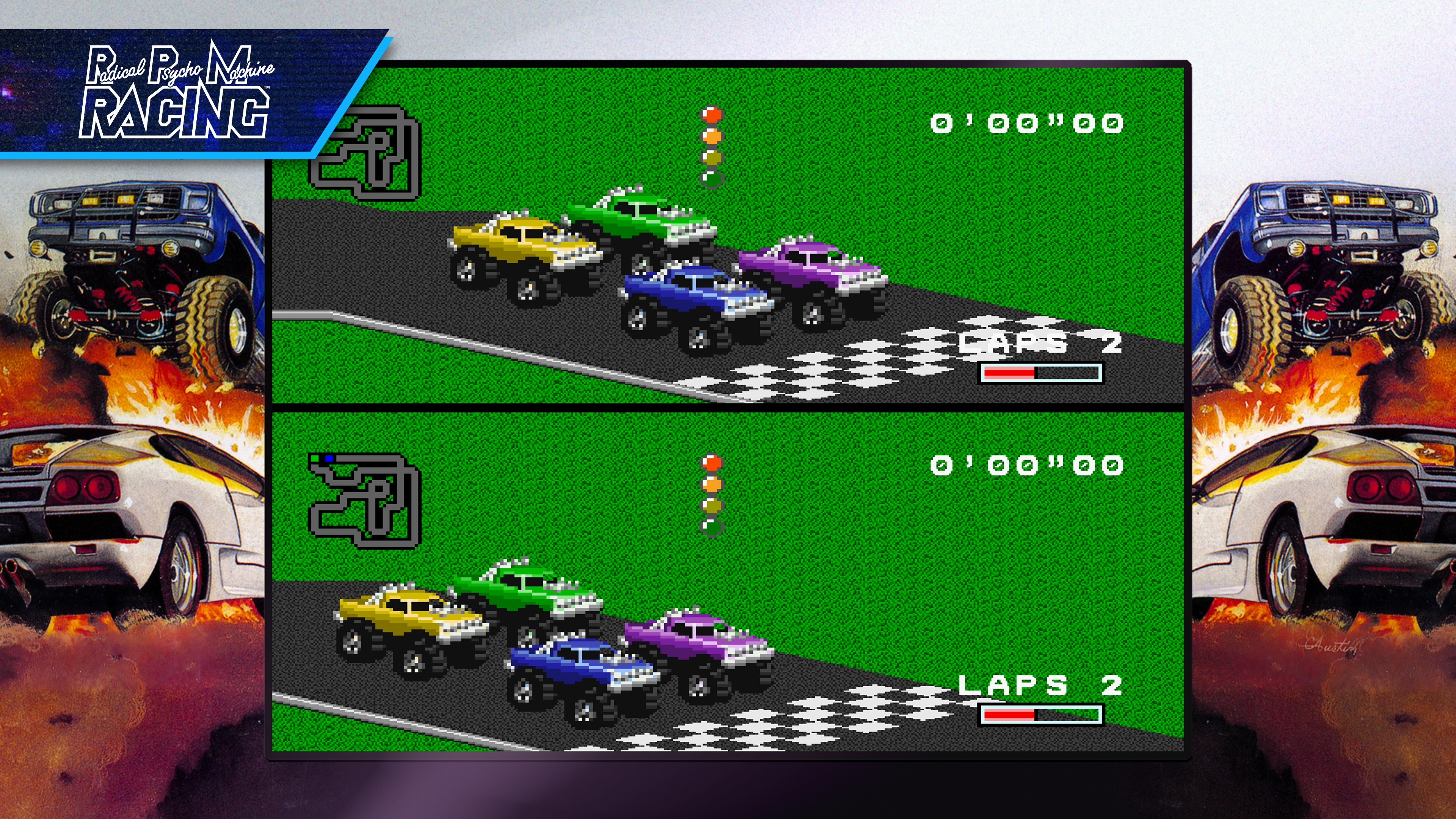 screen showing the 1991 game RPM Racing for Super Nintendo, as it appears in Blizzard Arcade Collection