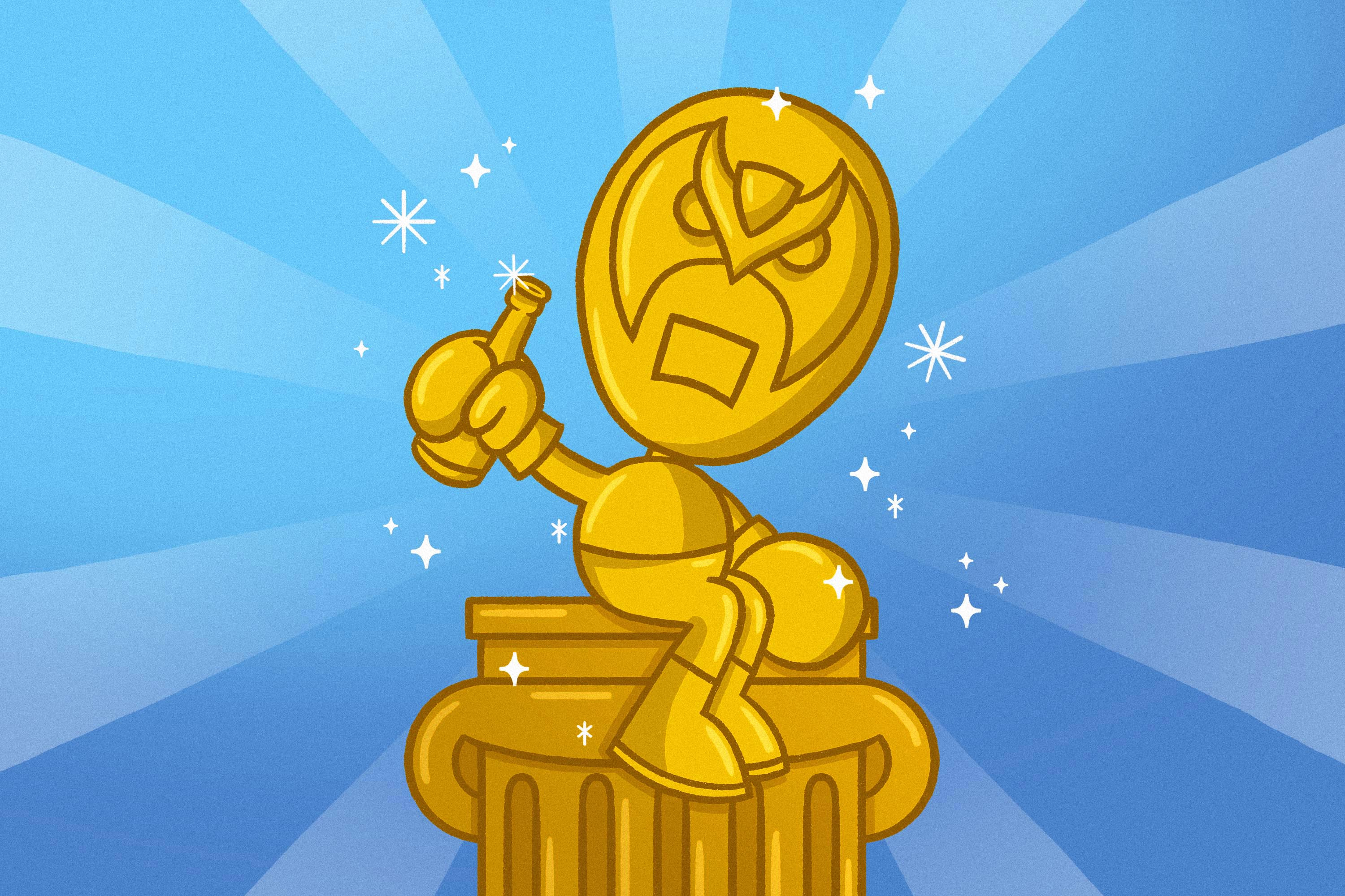 gold version of the Strong Bad character sits atop a gold column