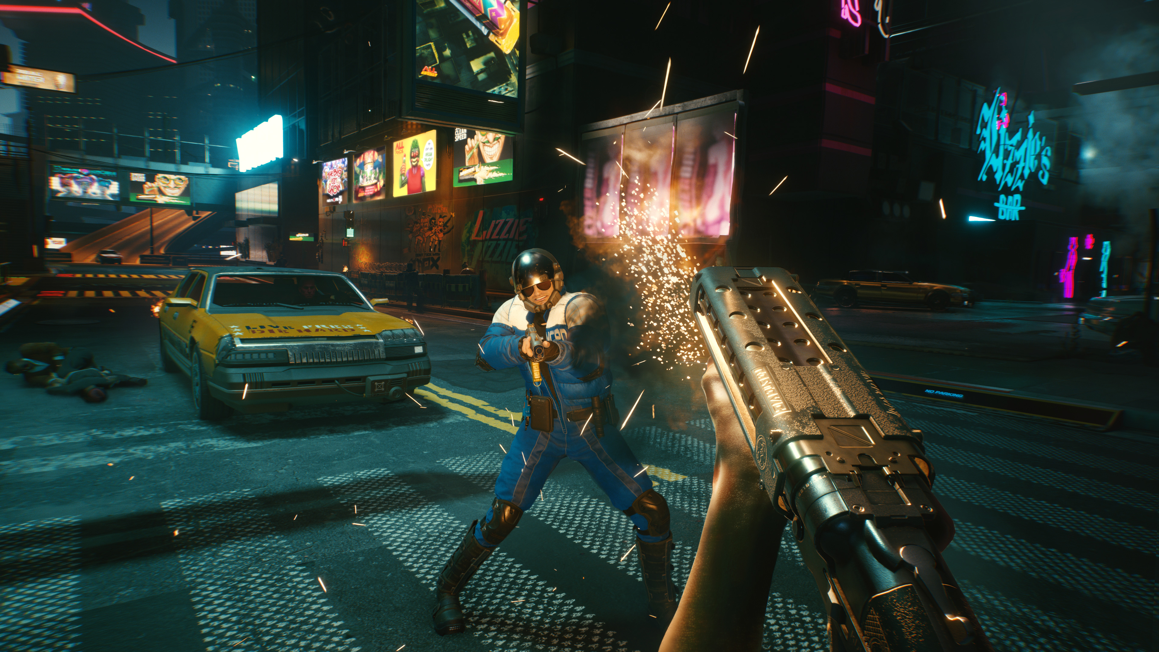 Shooting a shotgun in Cyberpunk 2077
