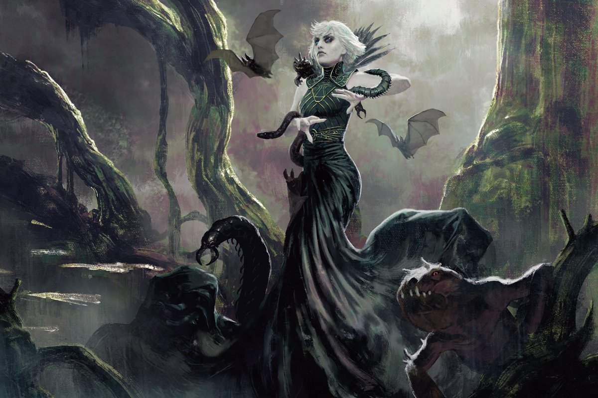 A member of Witherbloom stands on the edge of a swamp, dark creatures at her heels.