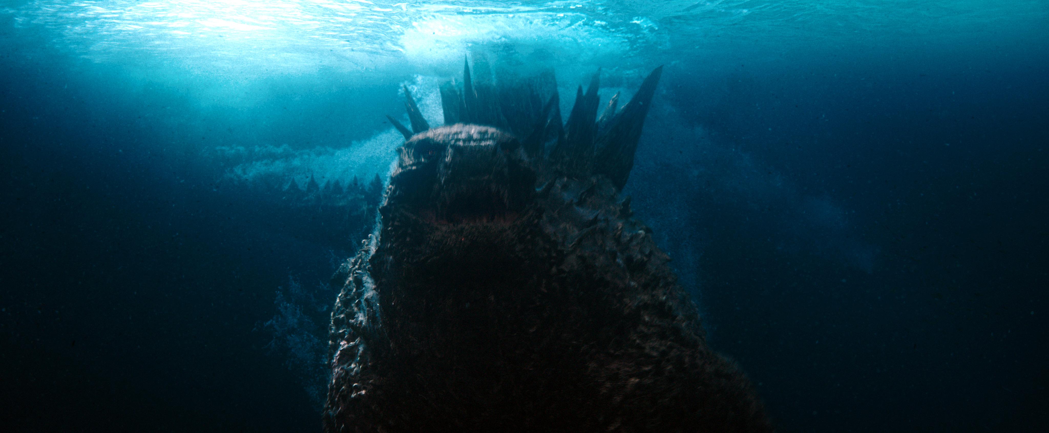 Godzilla, lurking underwater in Godzilla vs. Kong