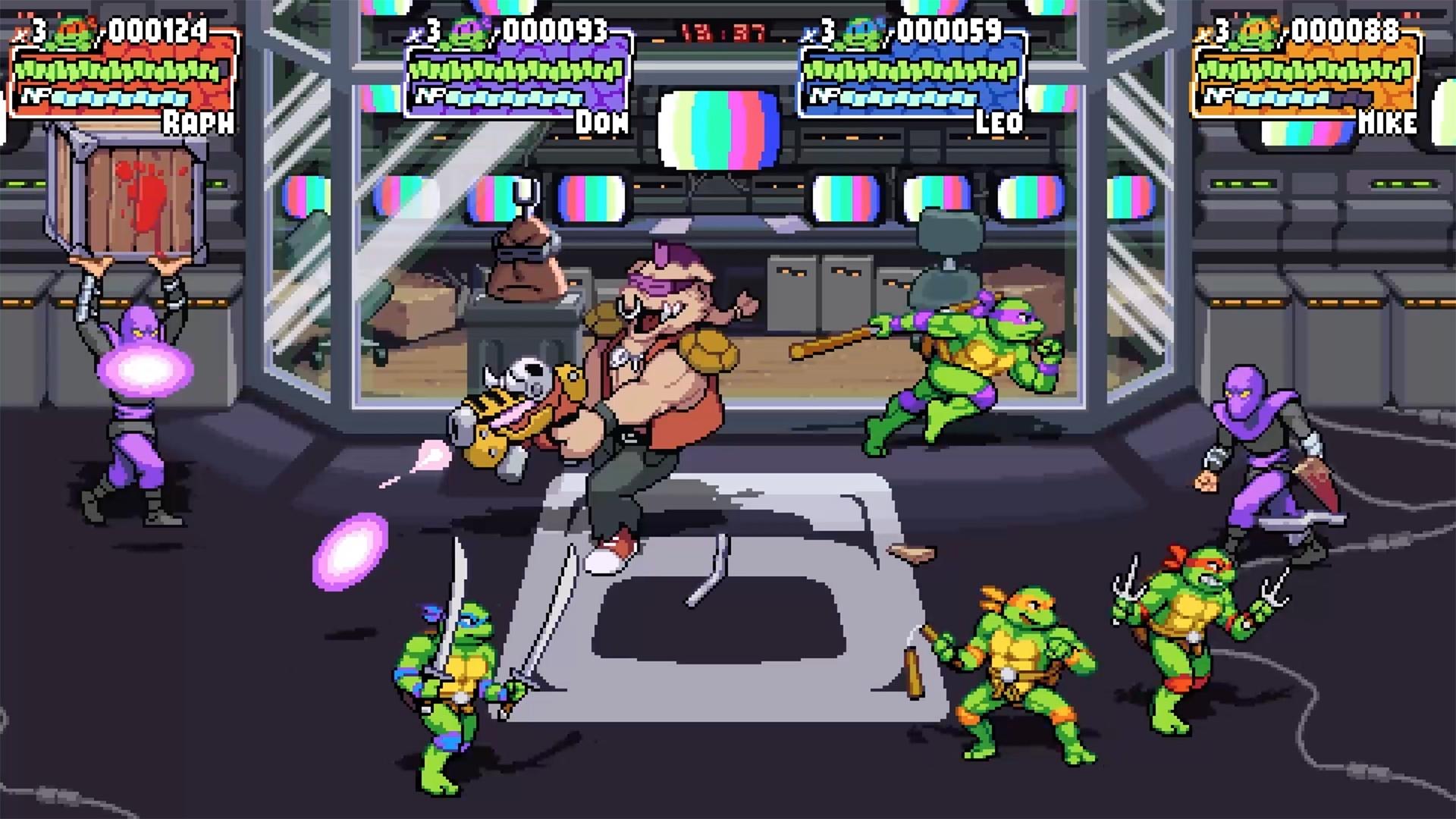 The Teenage Mutant Ninja Turtles tussle with Foot Clan ninjas and Bebop in a screenshot from Shredder's Revenge