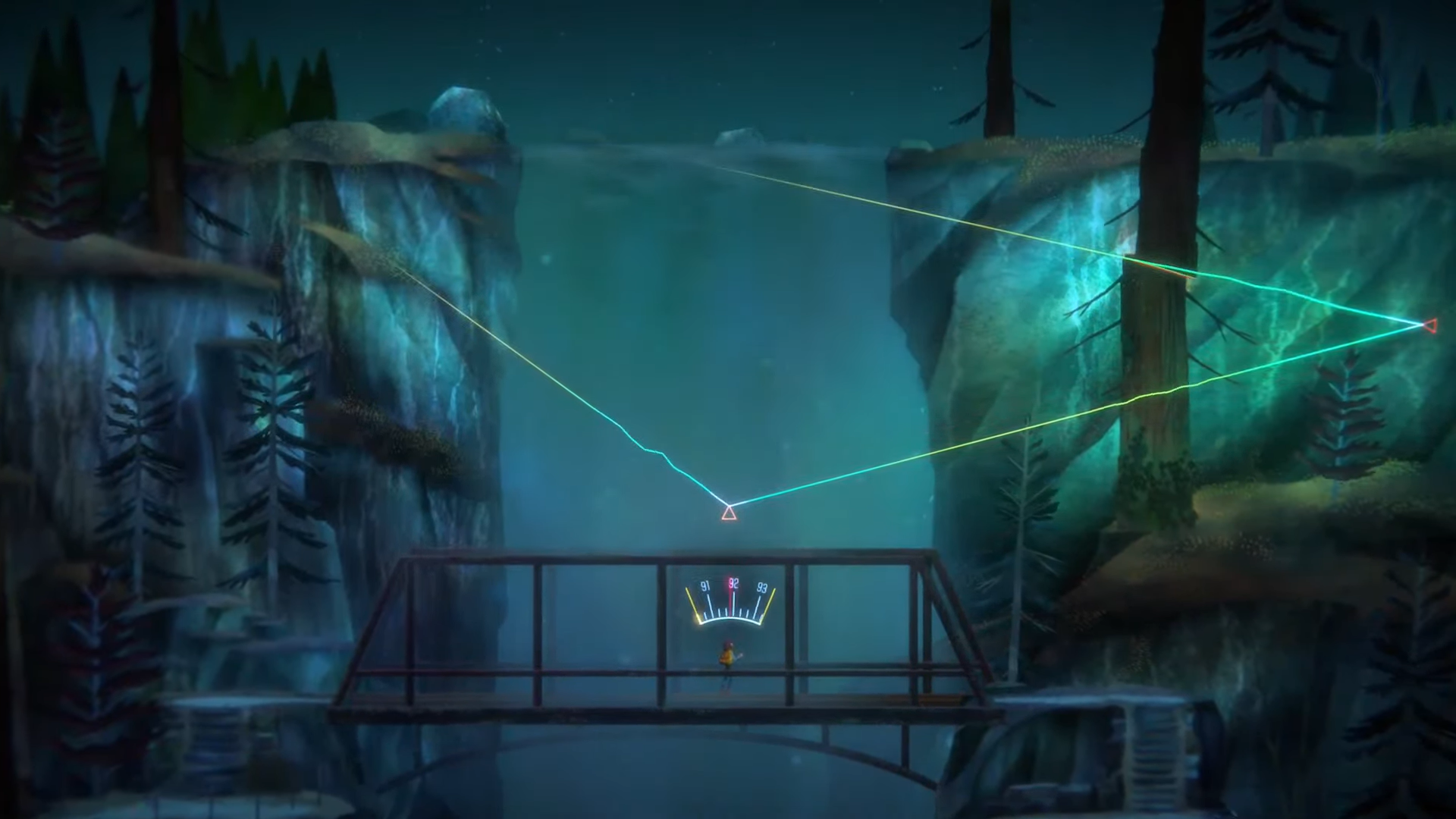 Alex from Oxenfree standing on a bridge with a mysterious triangle and a radio frequency symbol