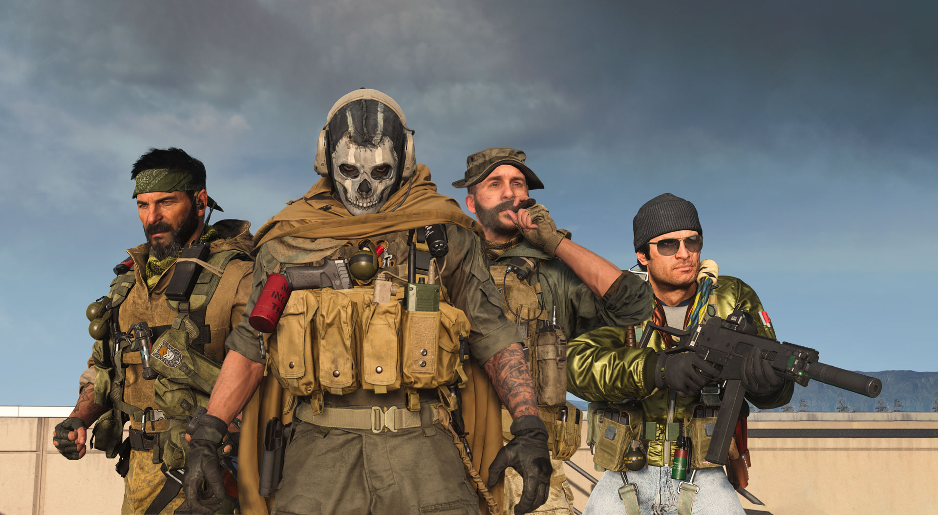 Frank Woods, Ghost, Price, and Adler as they appear in Call of Duty Warzone