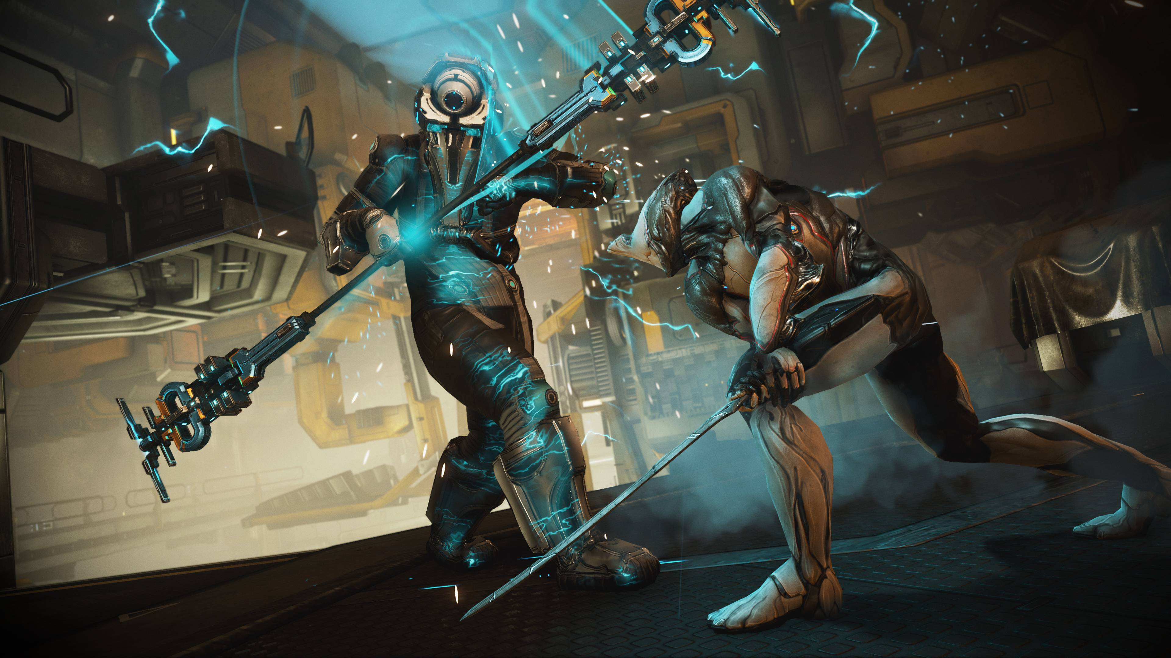 Warframe - the Excalibur Warframe attacks a Corpus crewmate with his sword aboard a spaceship.