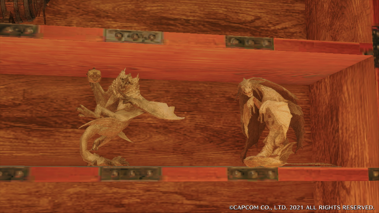 A Bishaten and Somnacanth carving in Monster Hunter World