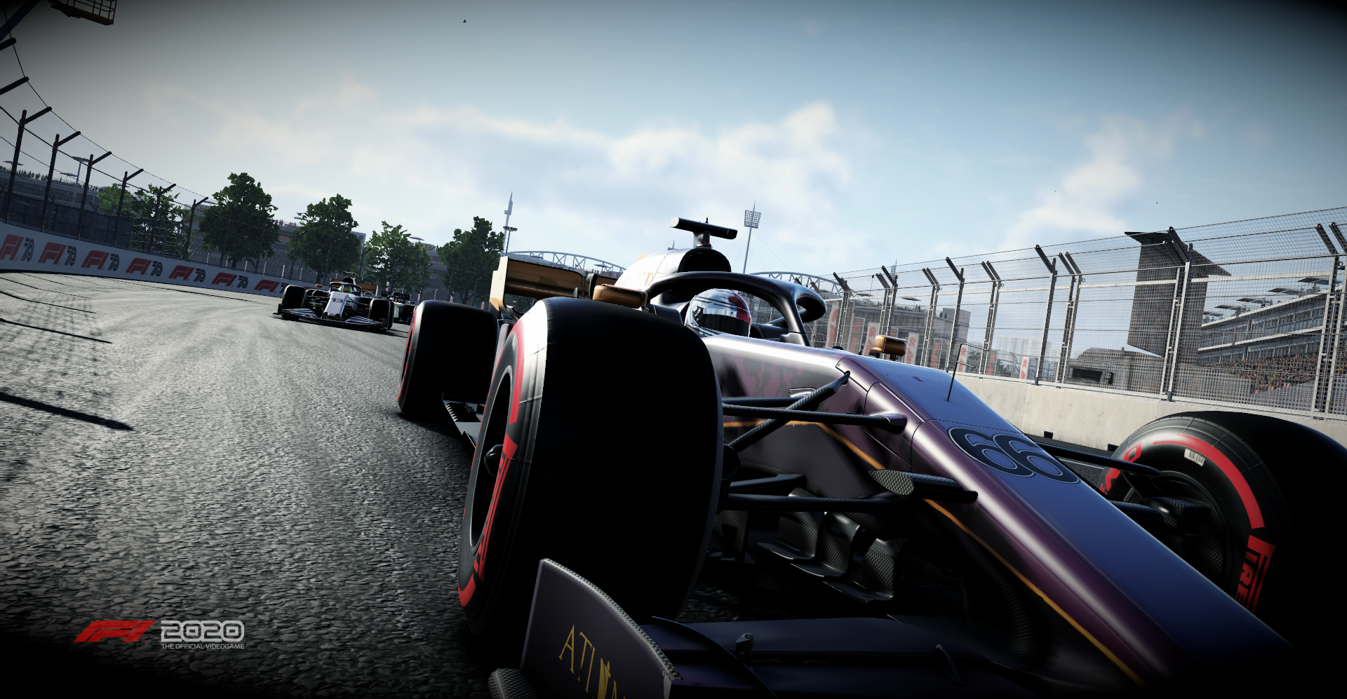 beauty shot of a Formula One car racing into the corner of the frame at an angle in F1 2020
