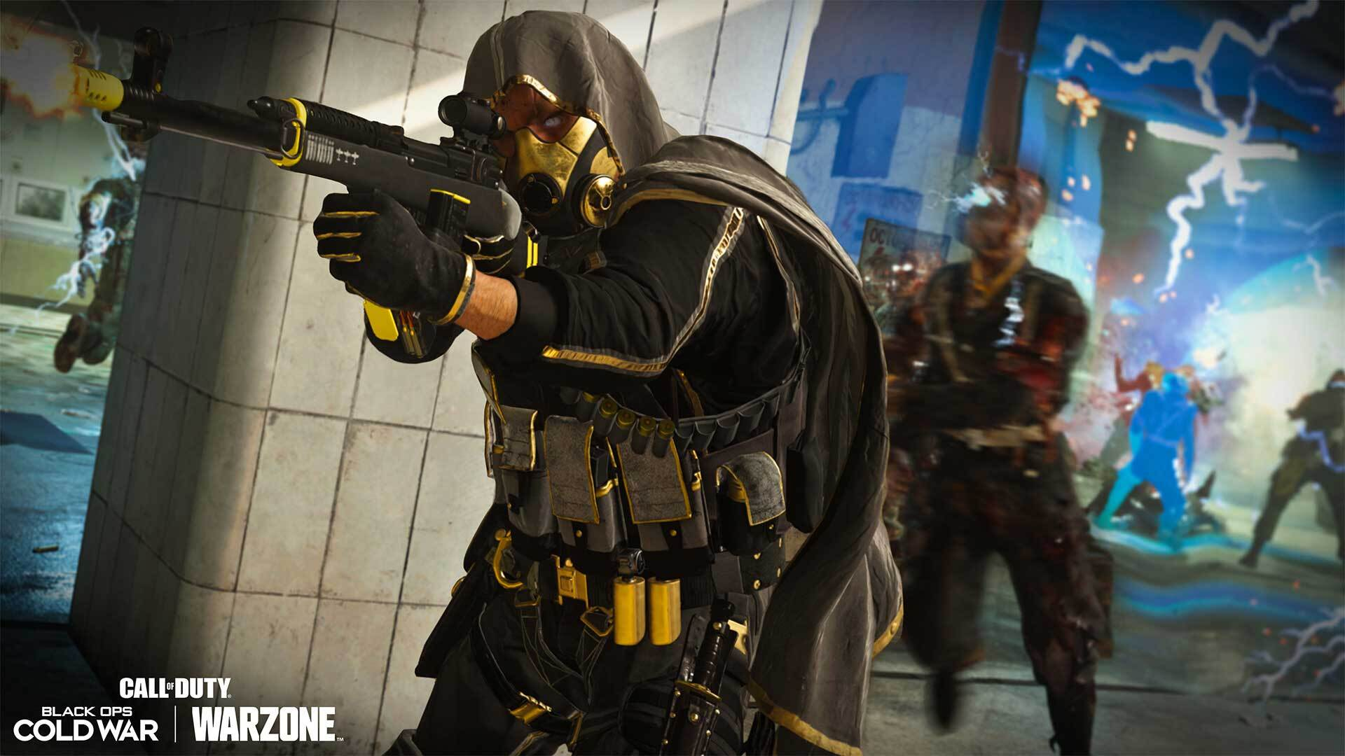 A Call of Duty: Warzone player fights zombies on Verdansk