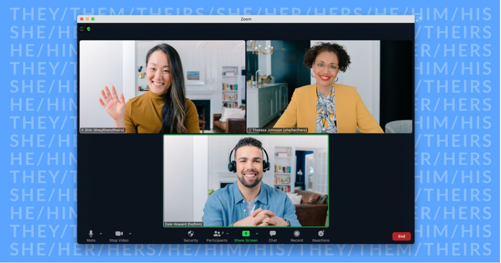 Screenshot of a Zoom window showing three people on a call. All three people have their pronouns in parentheses next to their names. Behind the window is a light blue background with different pronouns listed across it.