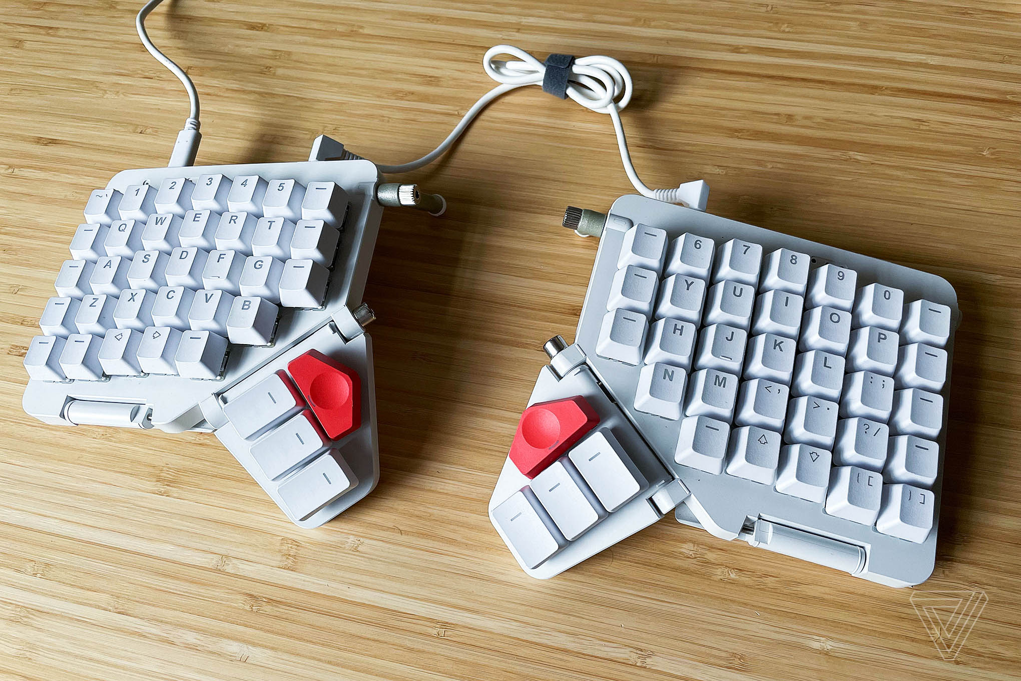 The ZSA Moonlander Mark 1 ergonomic customizable keyboard.