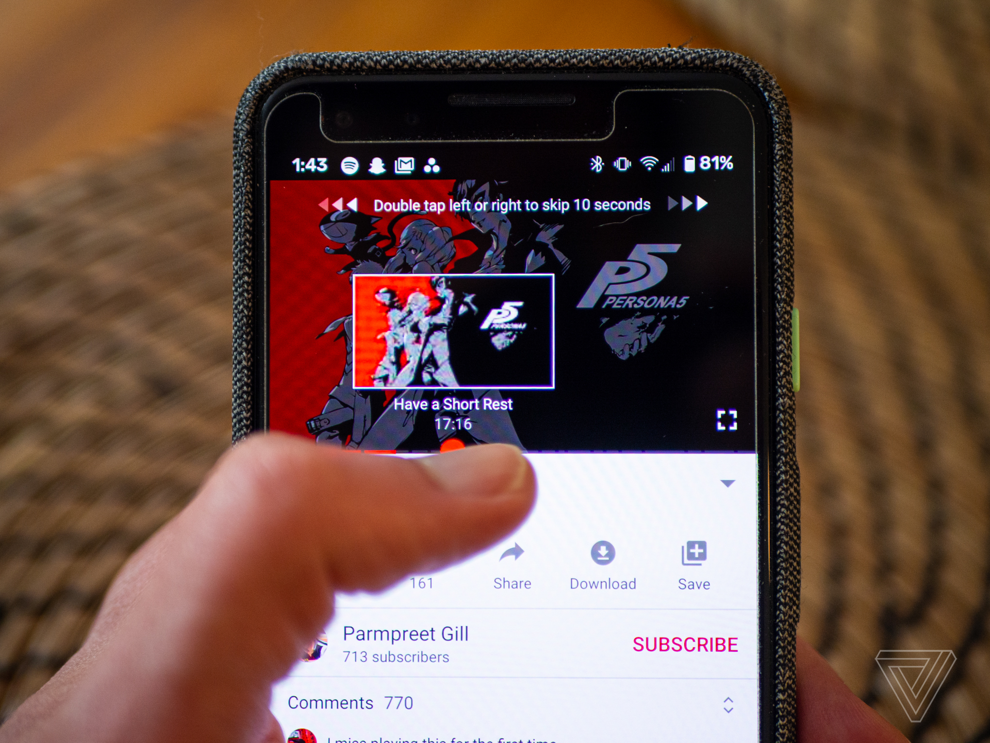 YouTube on mobile phone