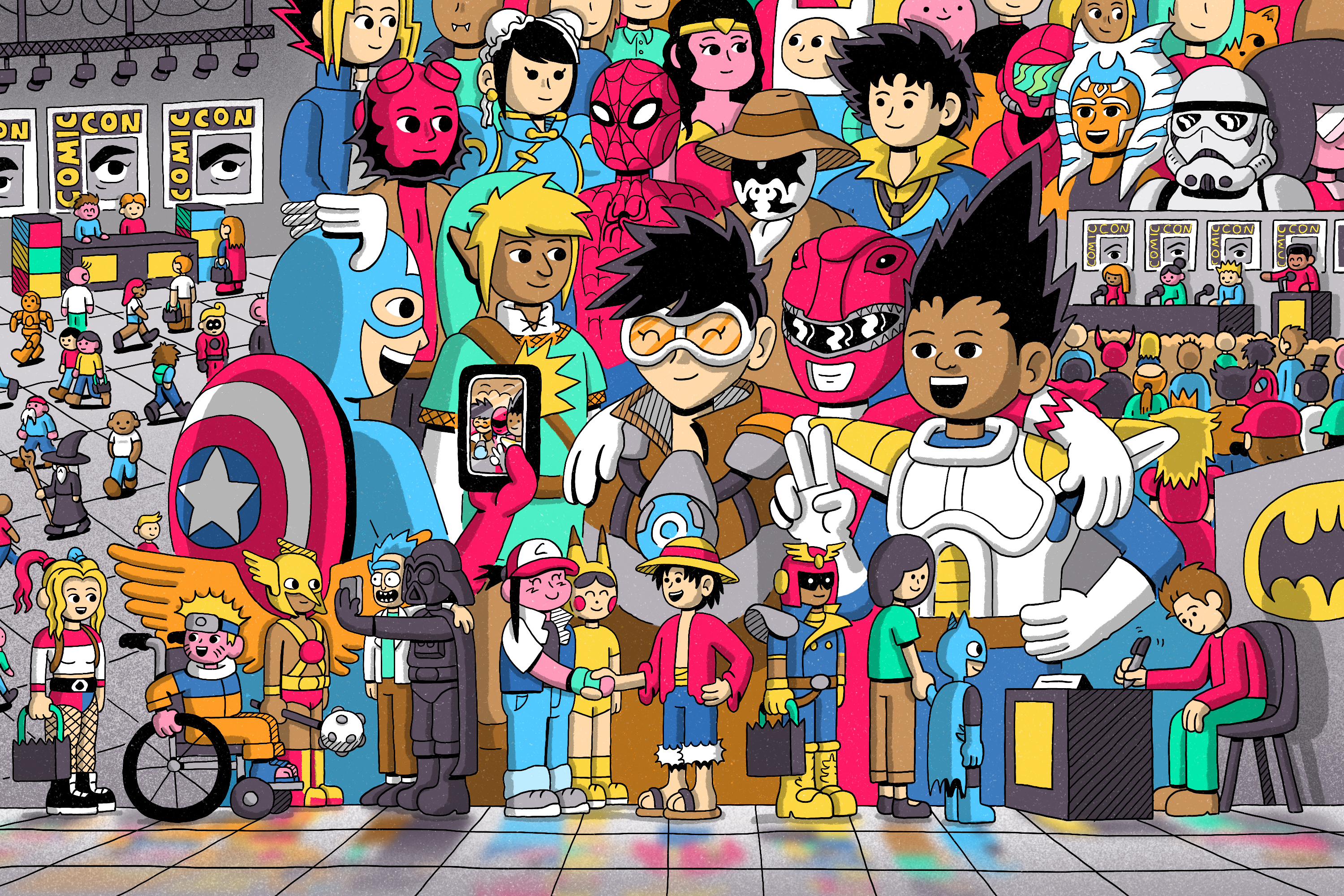 Comic style illustration featuring cosplay characters from Comic-Con