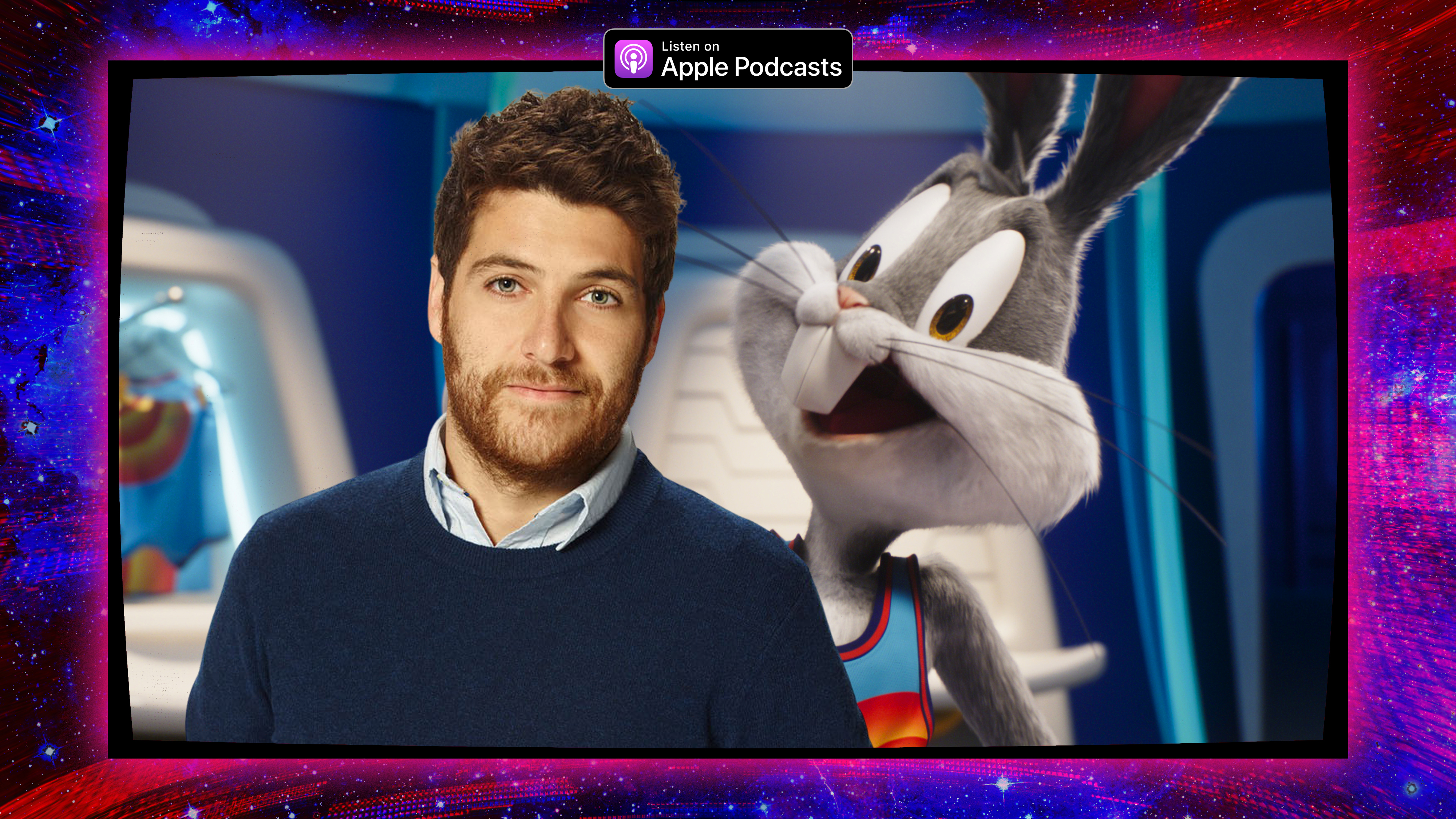Graphic featuring a photo of Adam Pally and Bugs Bunny