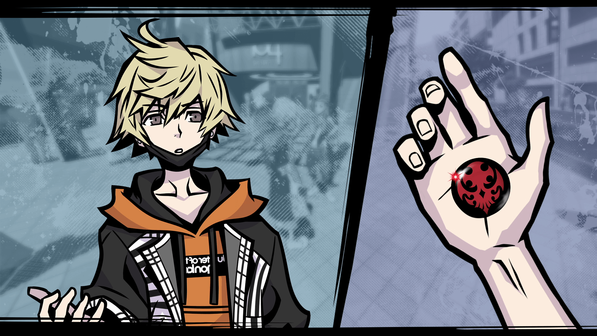 One of the characters in Neo: The World Ends With You looks at a pin in his hand