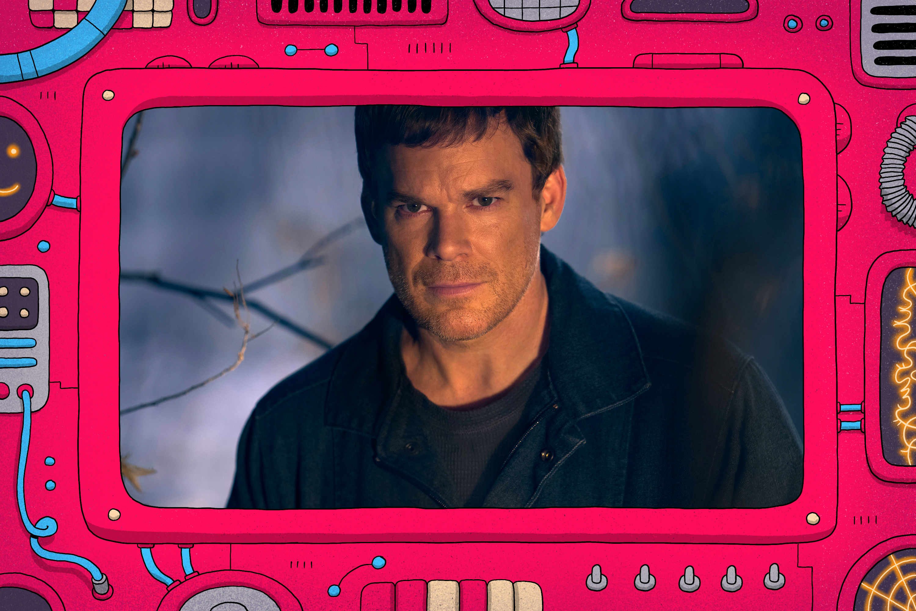 Michael C Hall as Old Dexter in a comic-con frame