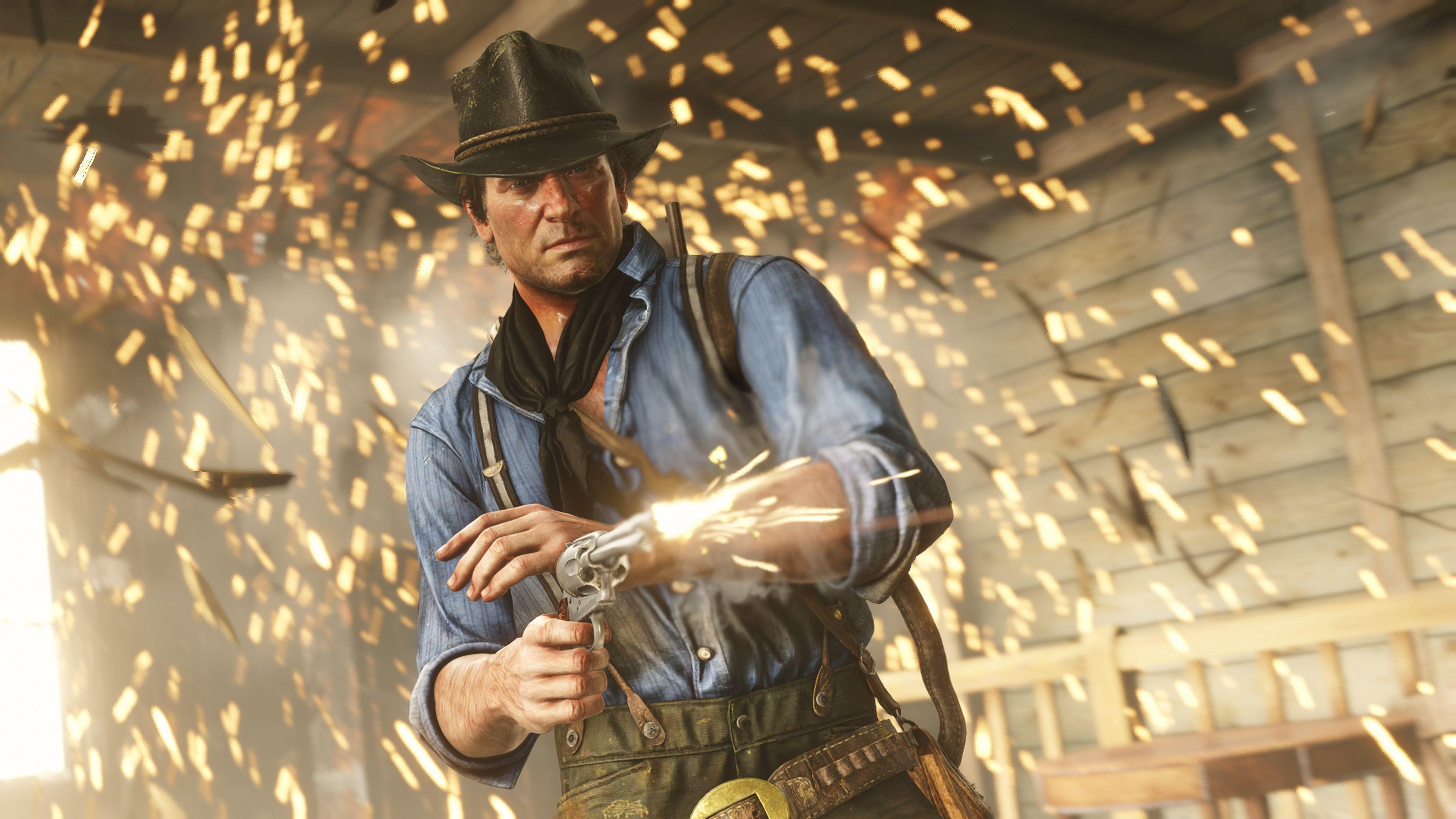 Red Dead Redemption 2 - Arthur Morgan, wearing a brown hat, blue shirt, and black neckerchief, fires his revolver through a hale of sparks.