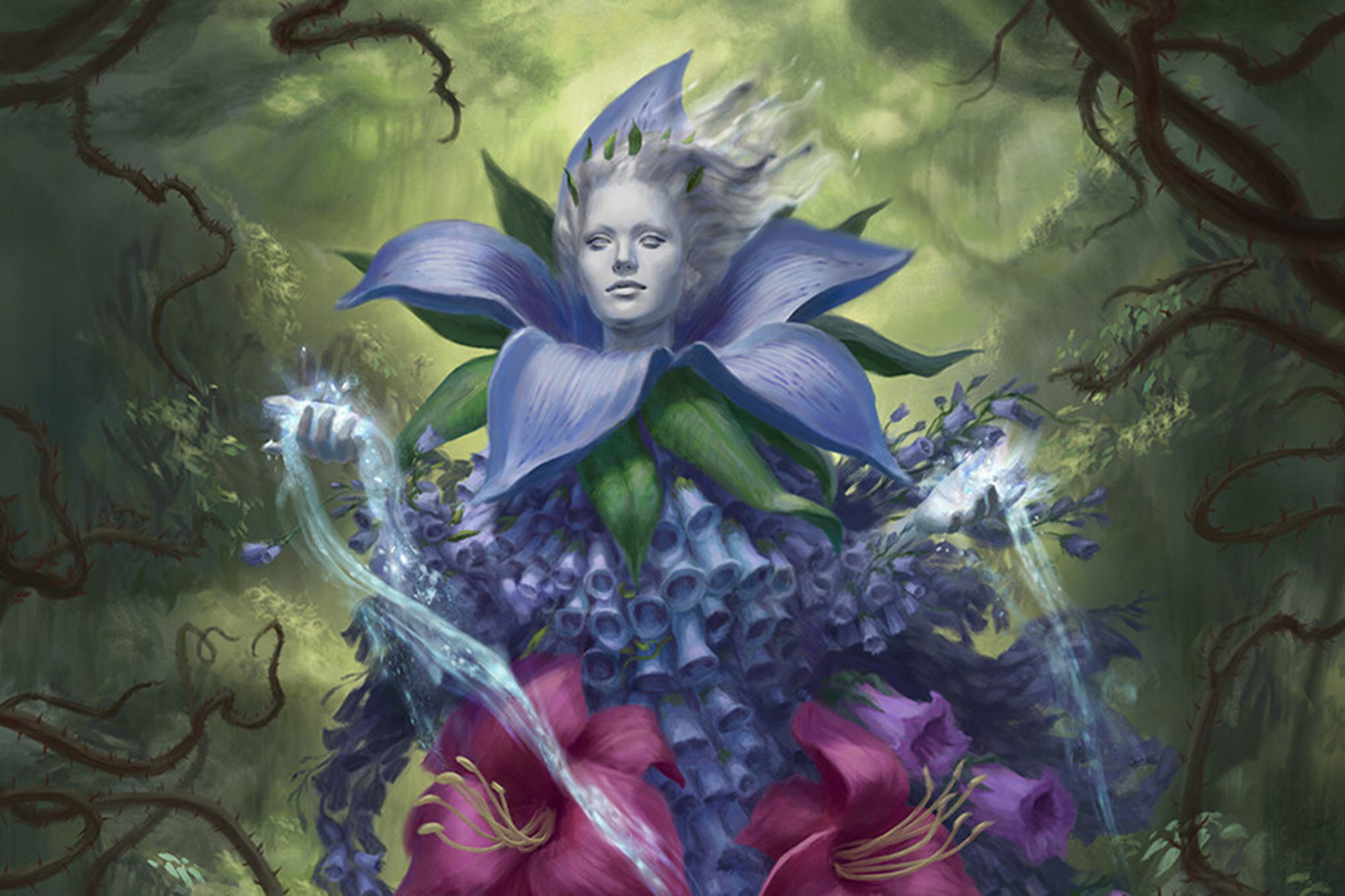 Art for Oona, Queen of the Fae shows a purple woman emerging from a giant flower on a green background. Blue mana spills from her hands like pollen.
