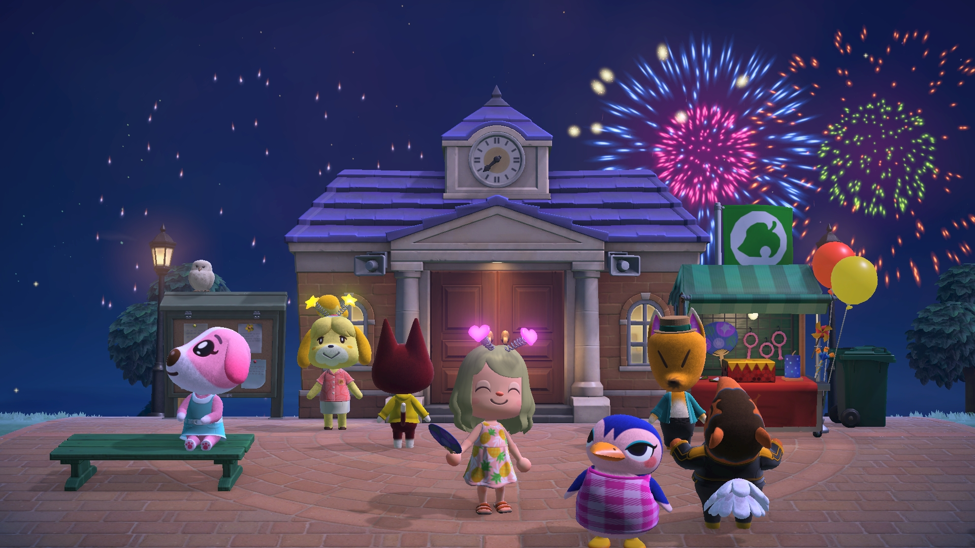 A village watches a fireworks show in Animal Crossing: New Horizons